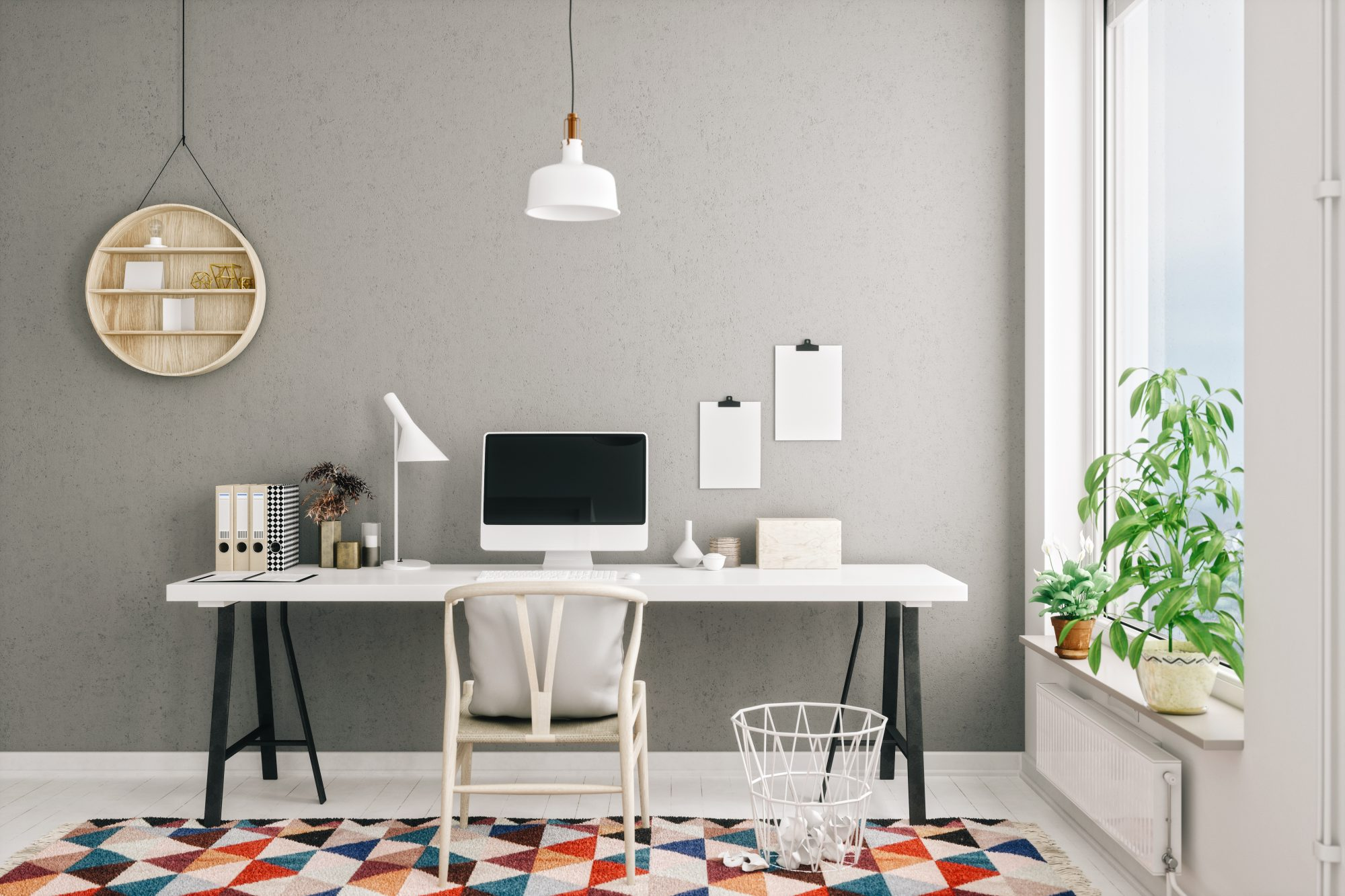 gray office space