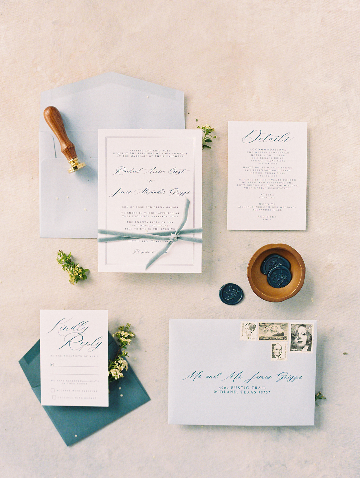 white and blue themed invitation suite