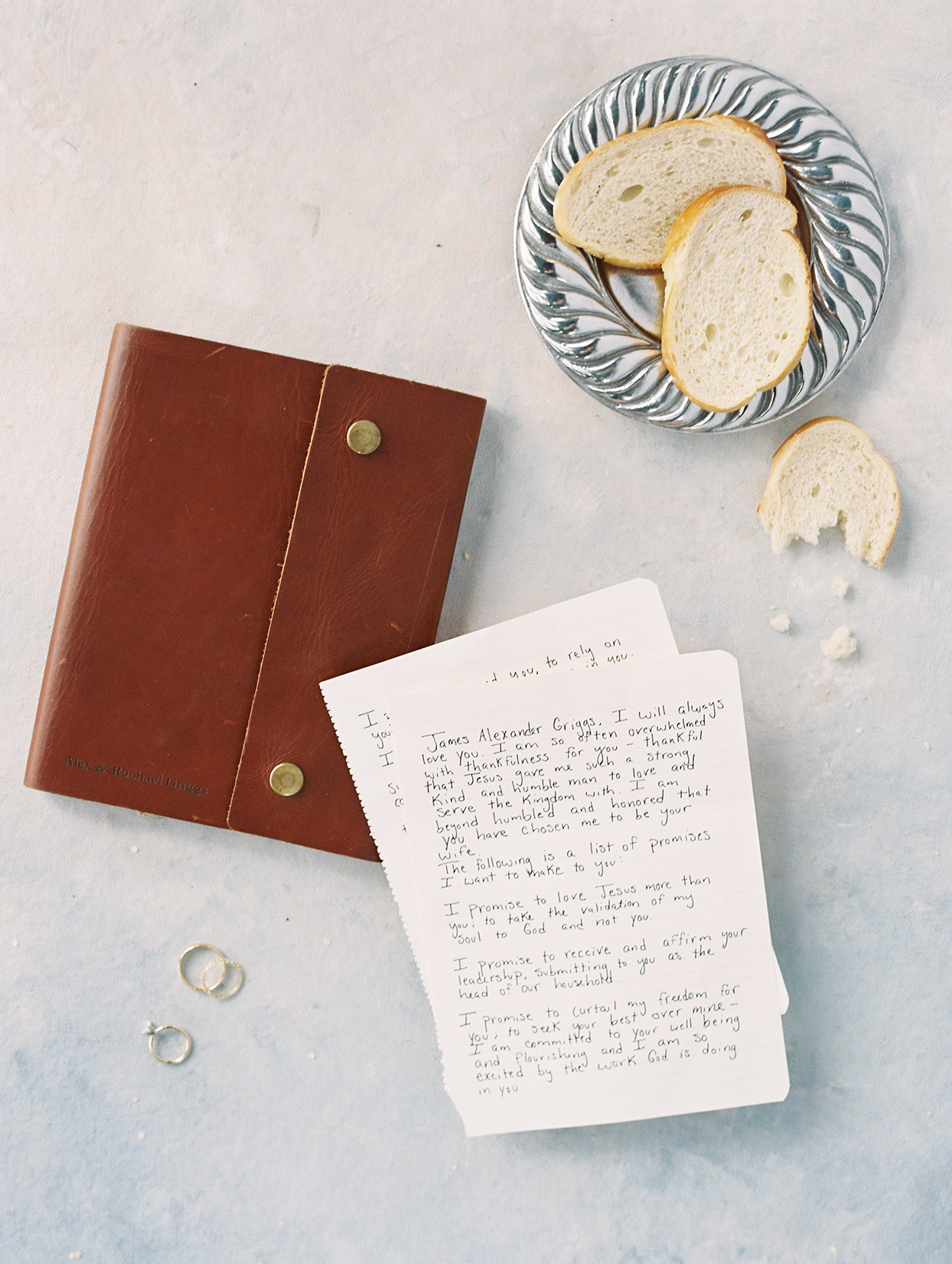 bride and groom hand written wedding notes