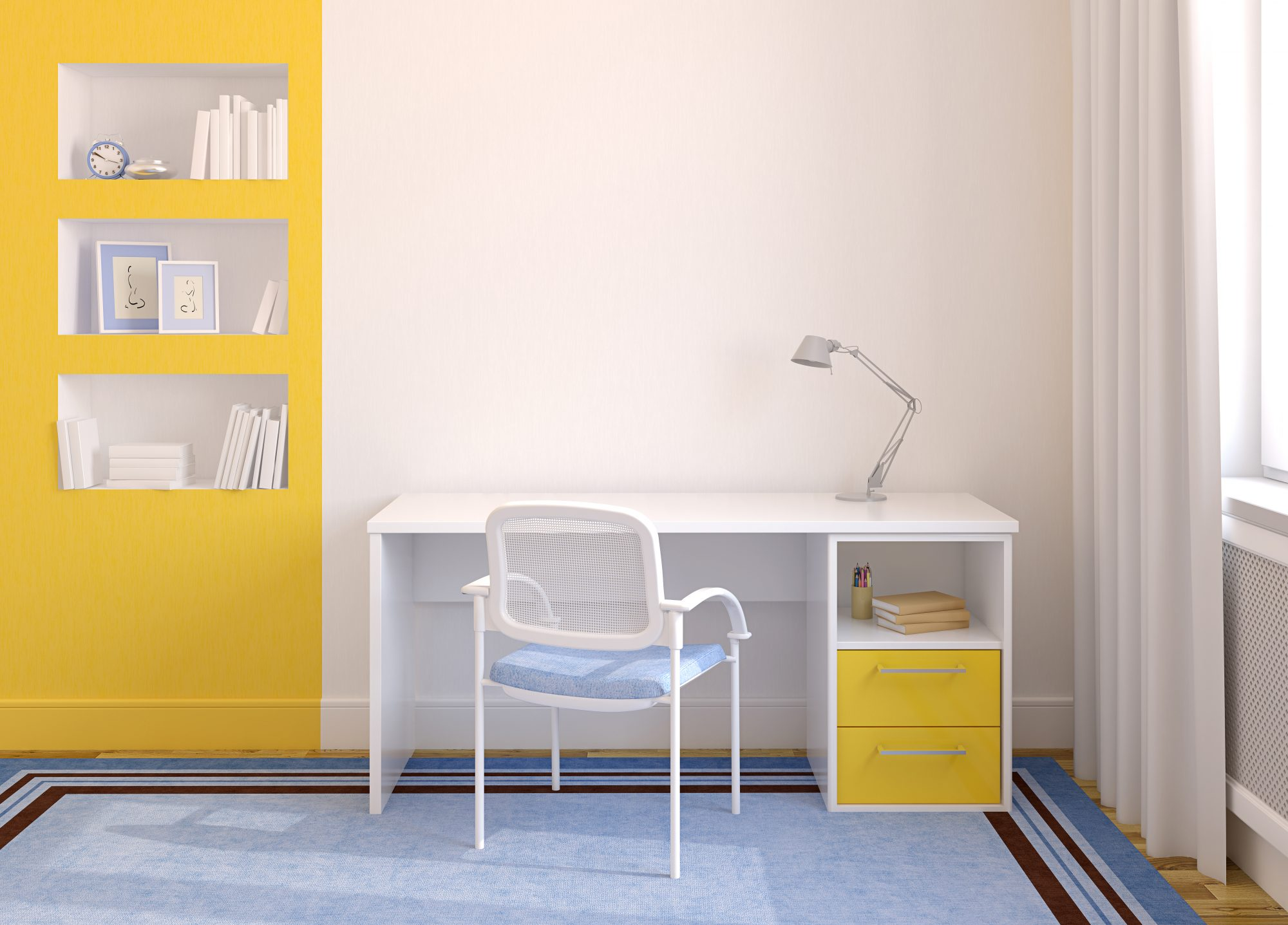 modern office with yellow accent wall