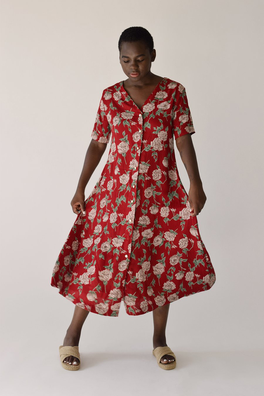 label by three carina dress red floral