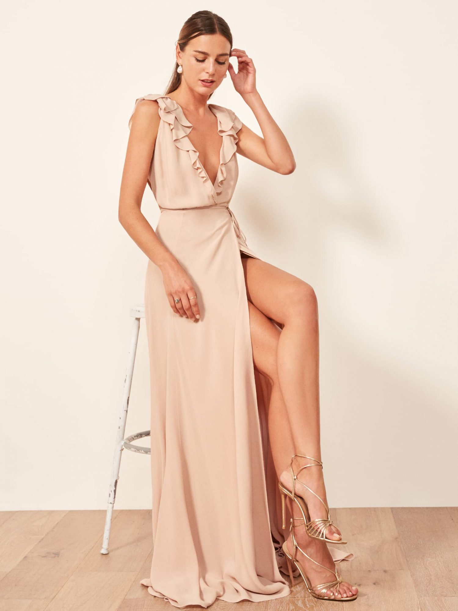reformation peppermint dress in champagne