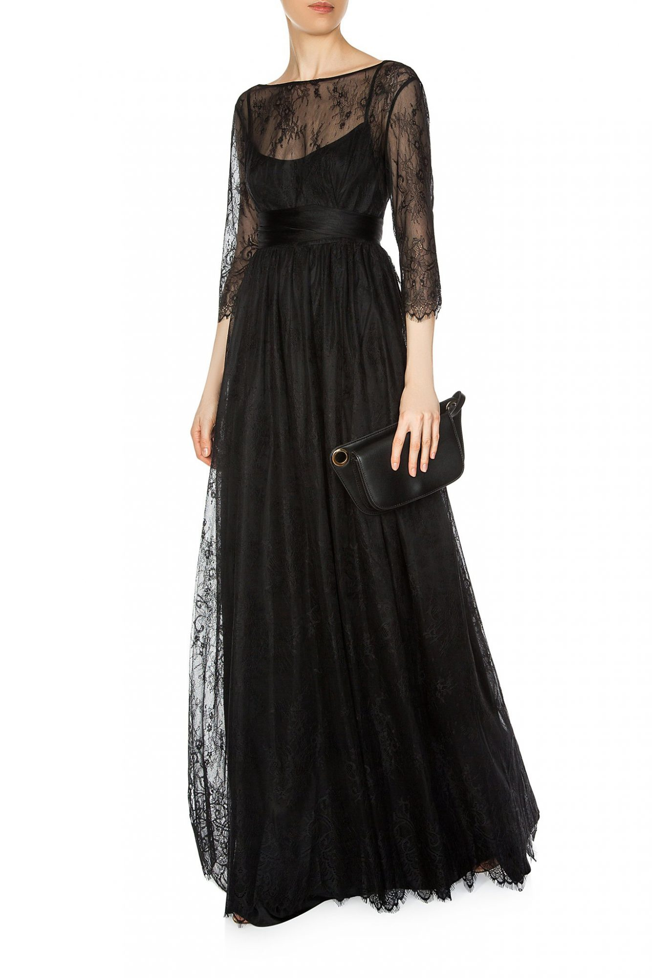 gunta pudiste lace long illusion gown in black