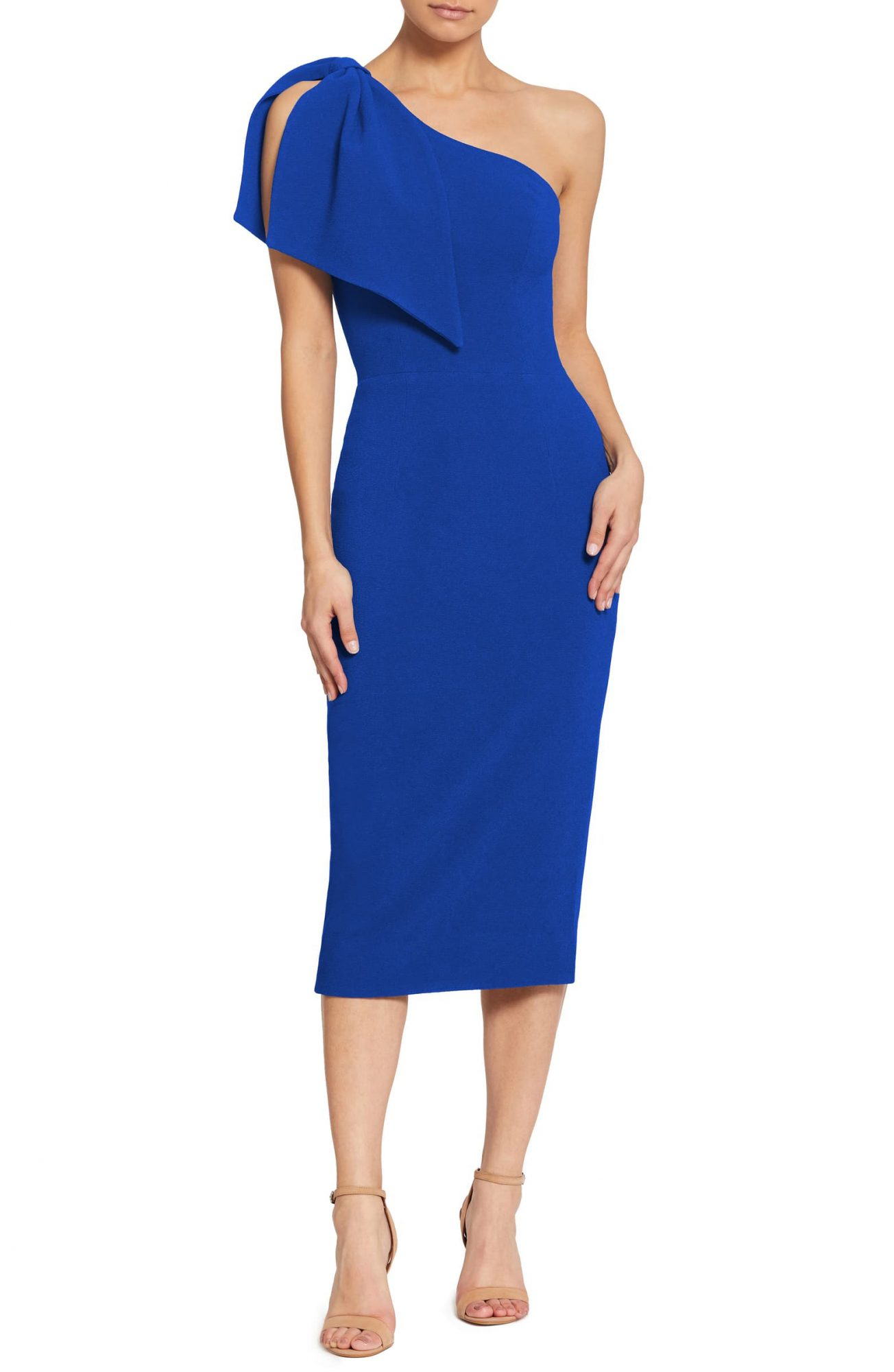 dress the population tiffany one-shoulder midid dress in electric blue