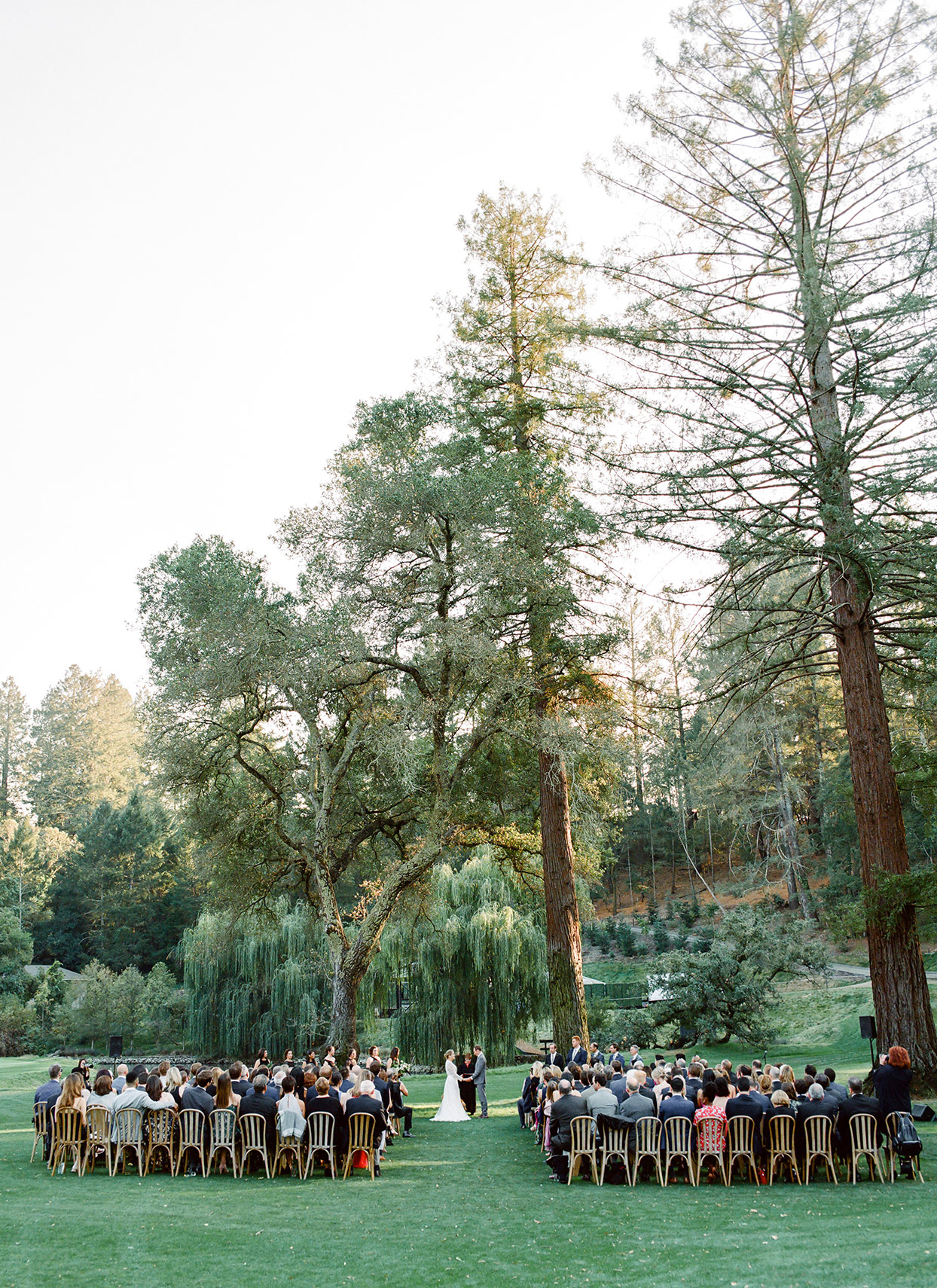guests seated during outdoor wedding ceremony
