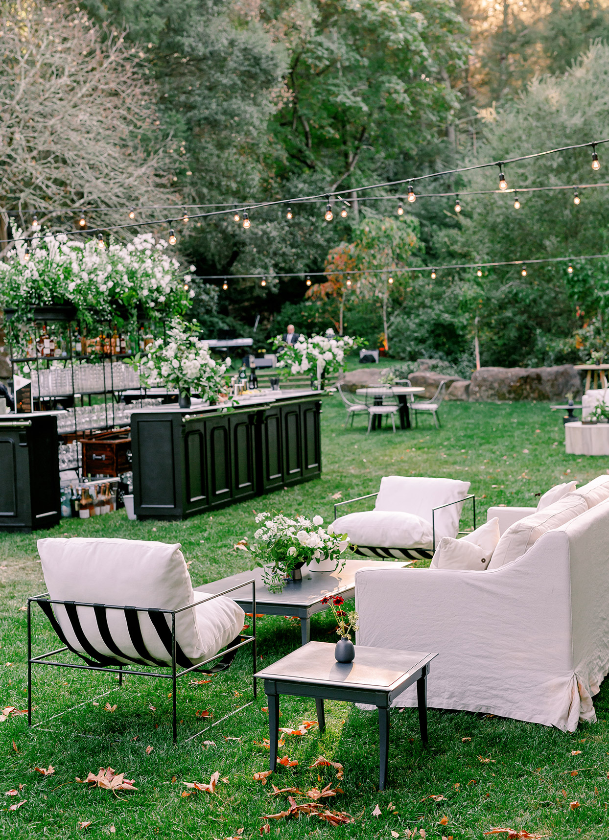 black and white outdoor cocktail hour furniture
