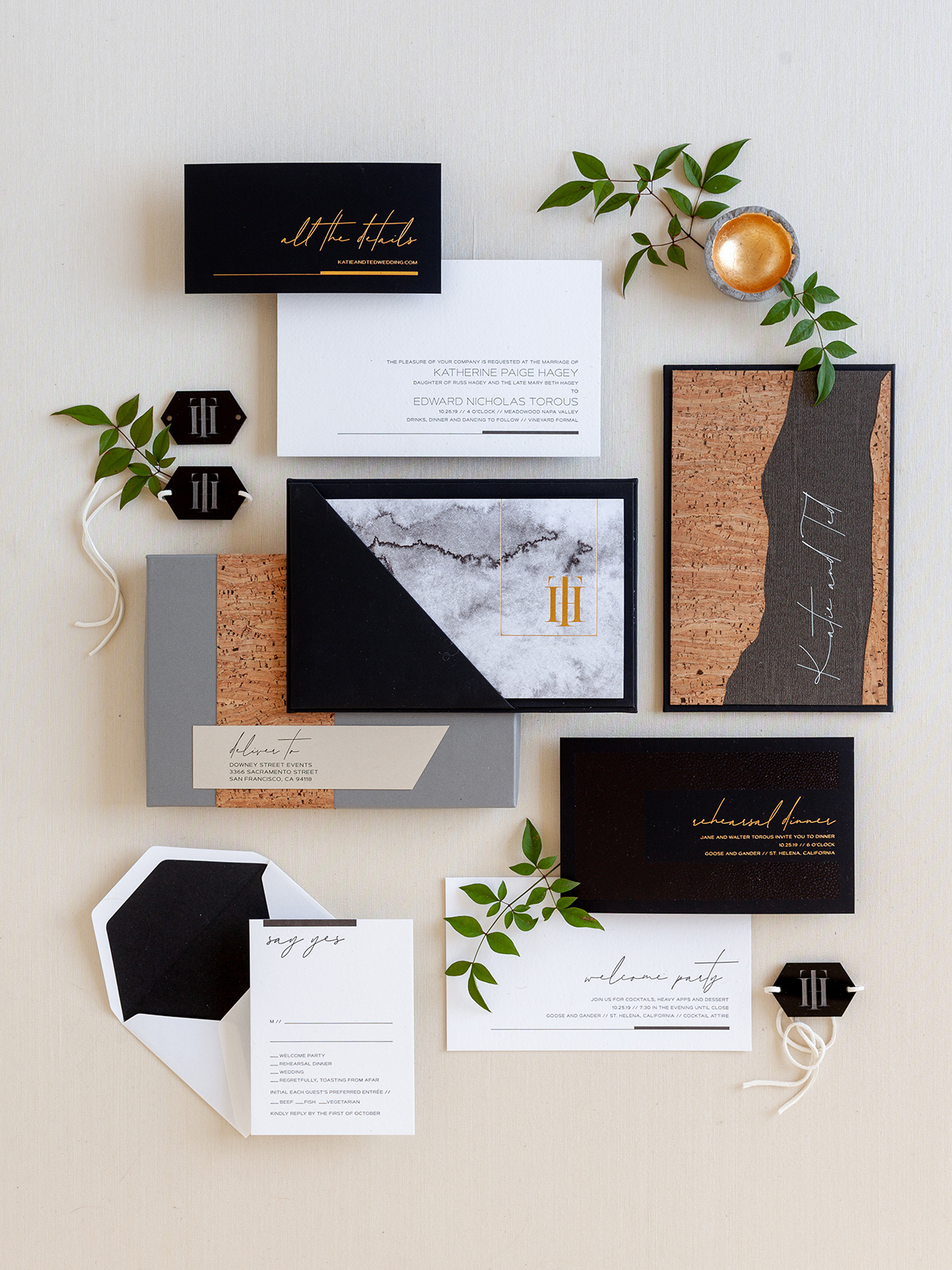 black and white wedding invitation suit with copper accents