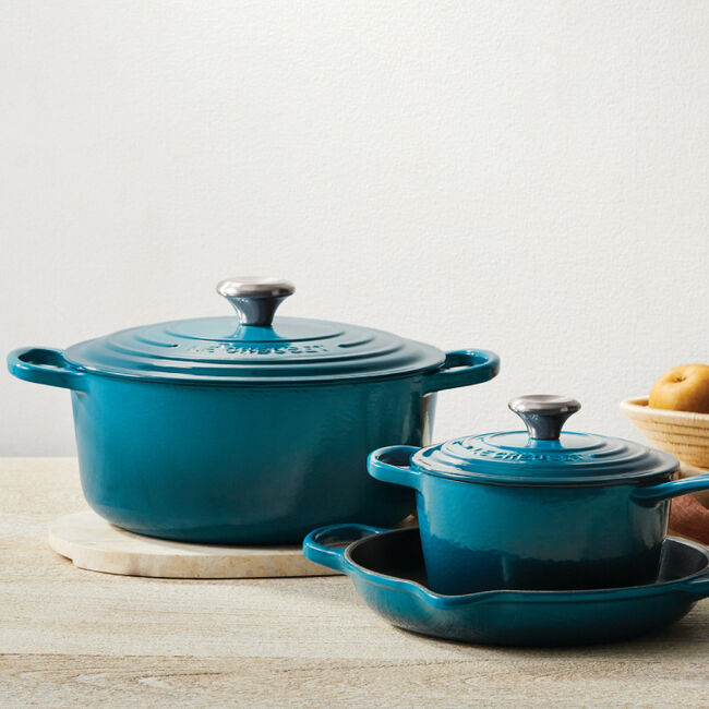 cookware in deep teal from Le Creuset