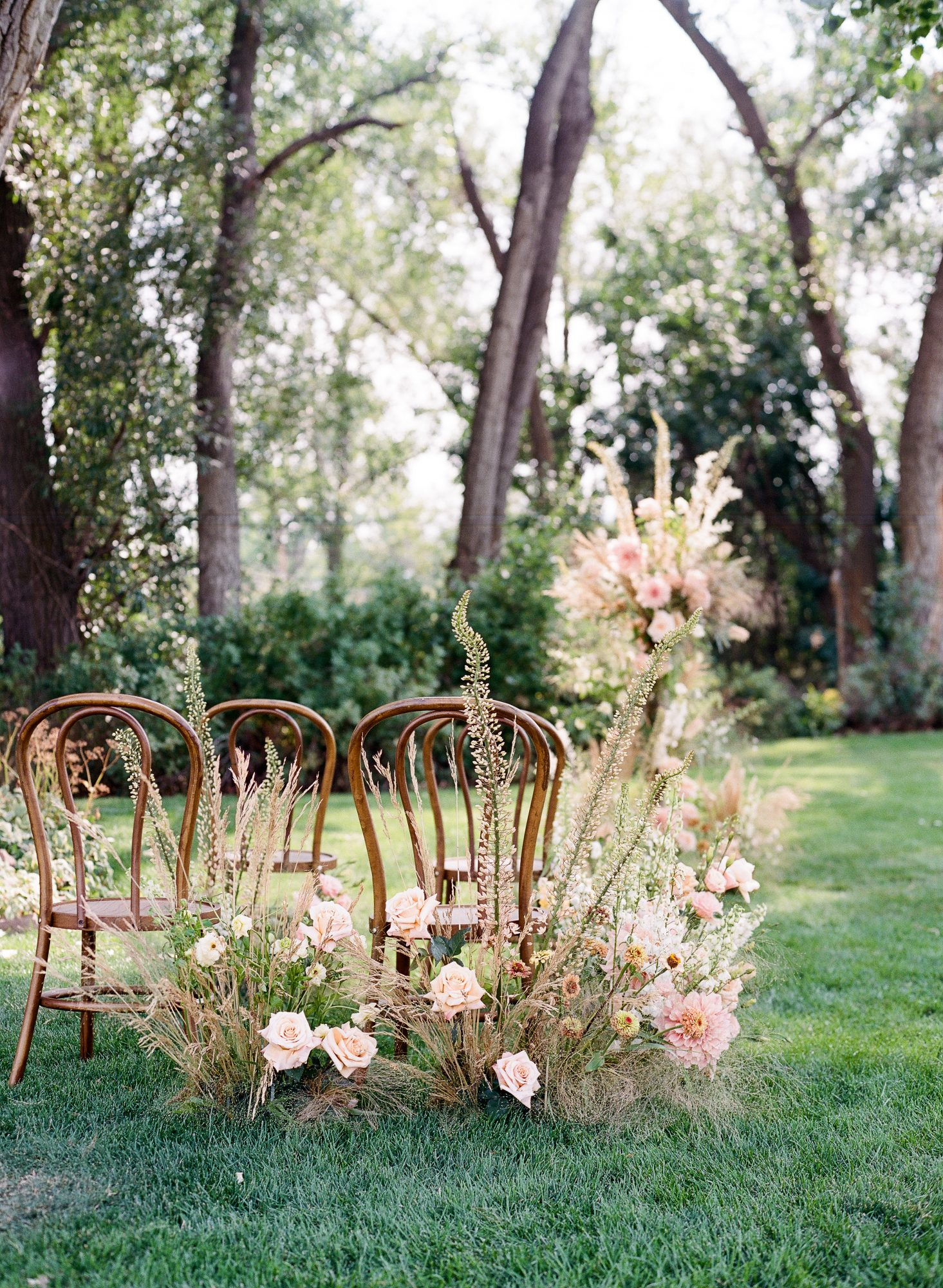 ceremony space with wildflowers