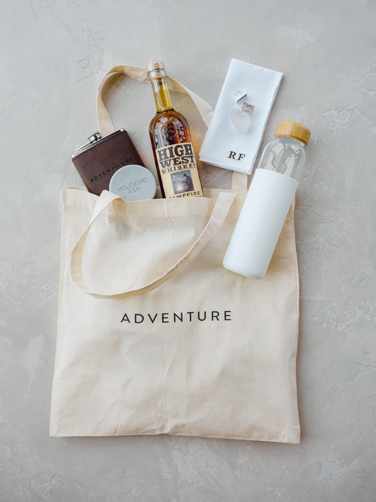 adventure welcome bag with various products