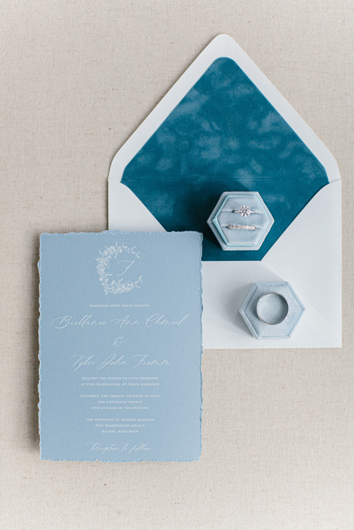 blue raw edge invitations with wedding rings