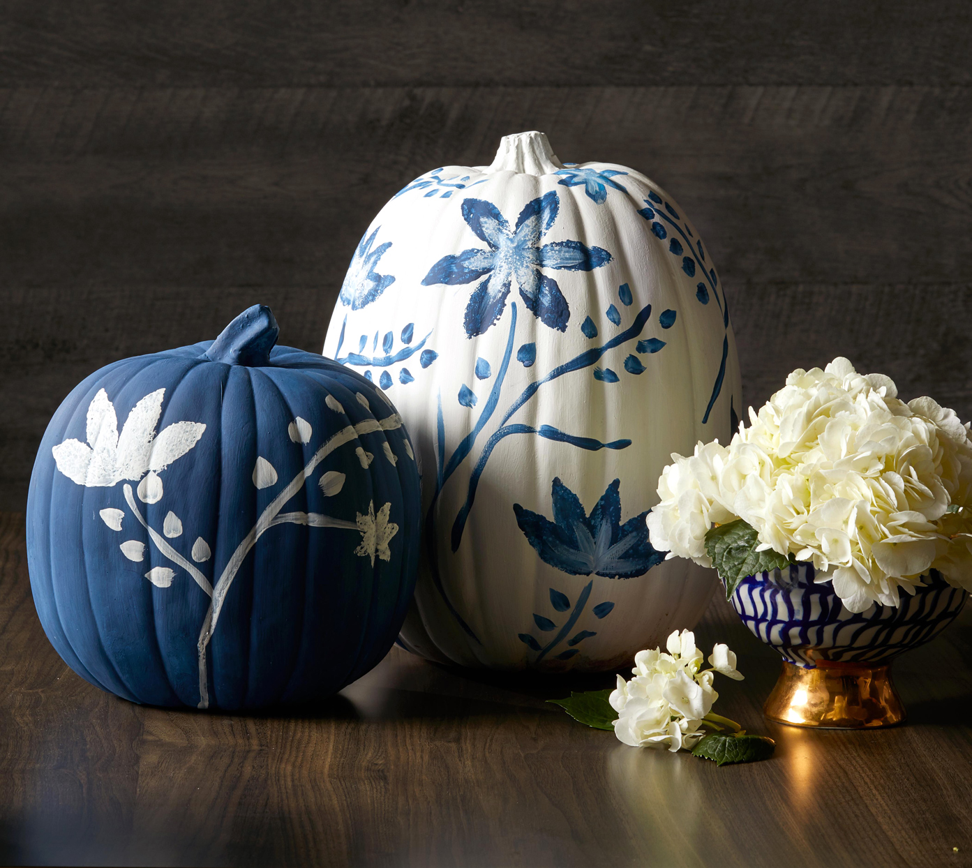 blue and white chinoiserie pumpkins