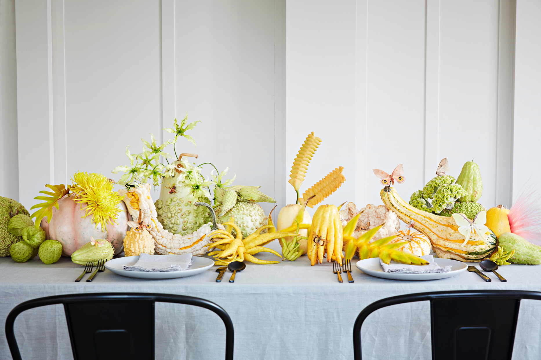 table display of green and yellow squash and pumpkins