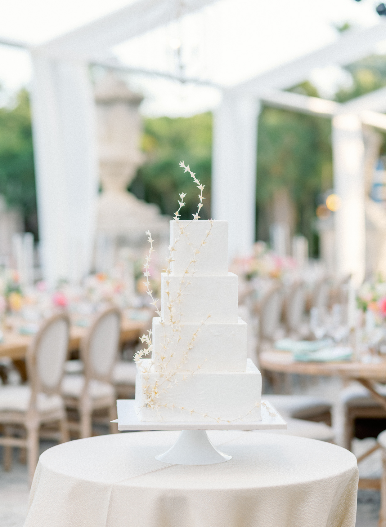 classic square tiered wedding cake