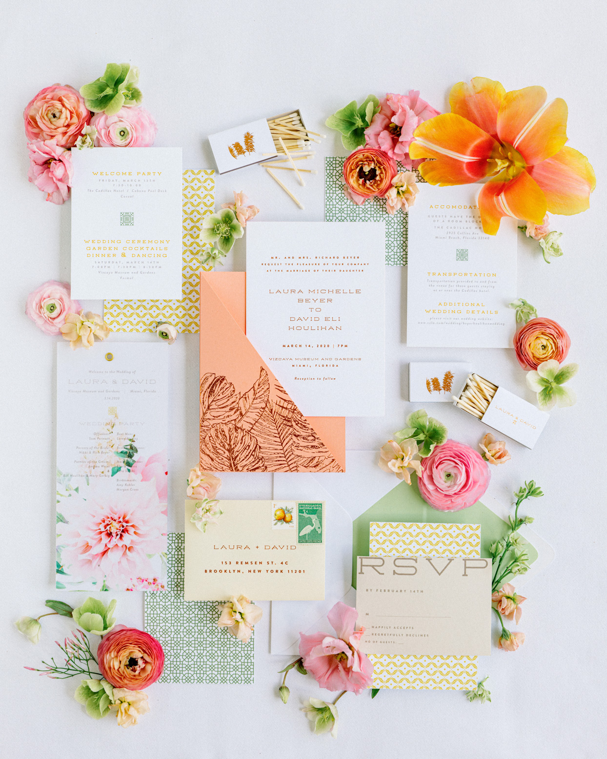yellow, orange, and pink wedding invitations