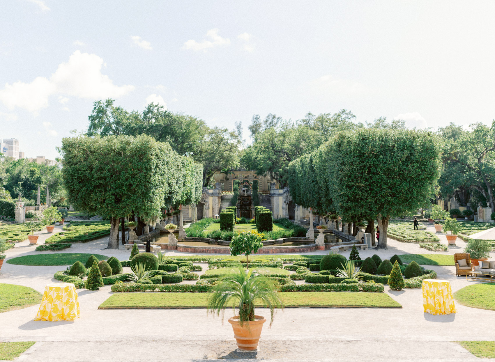 outdoor garden venue with topiary and hedging