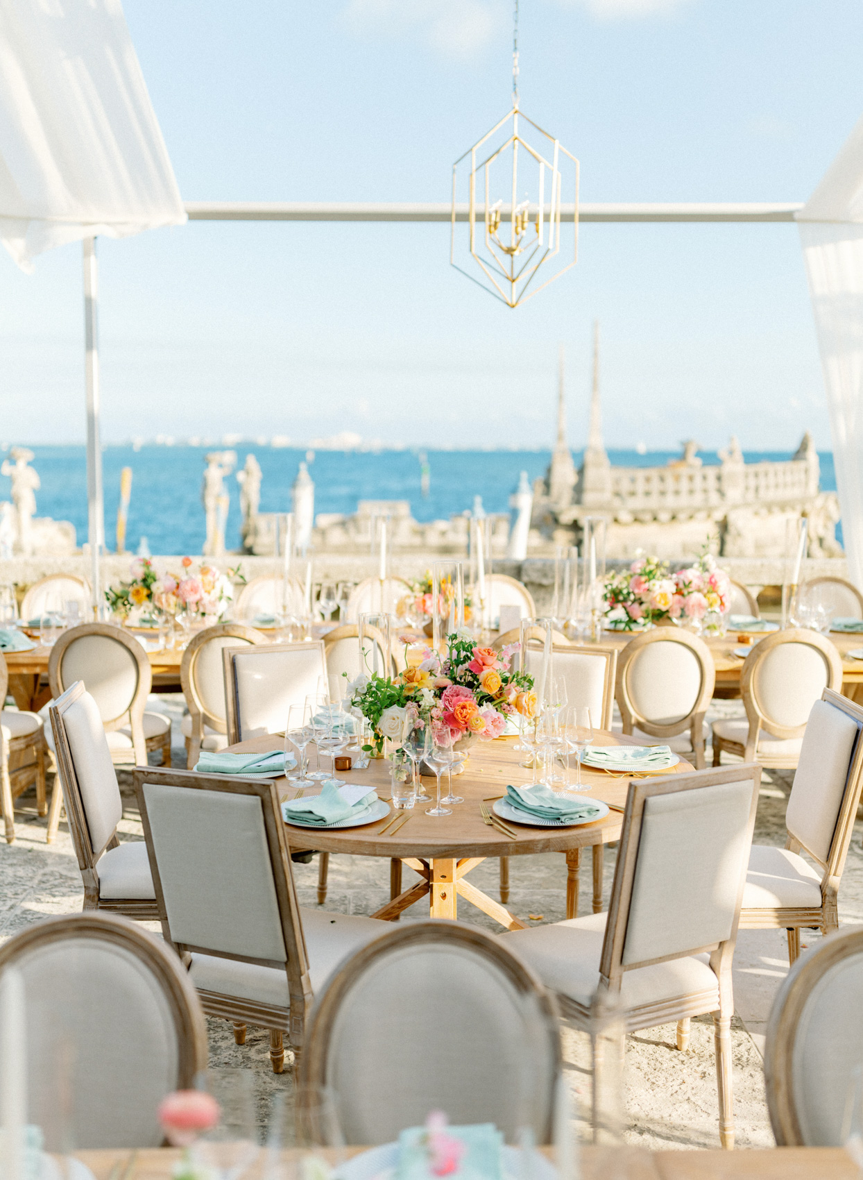 waterfront reception seating in beige and blue