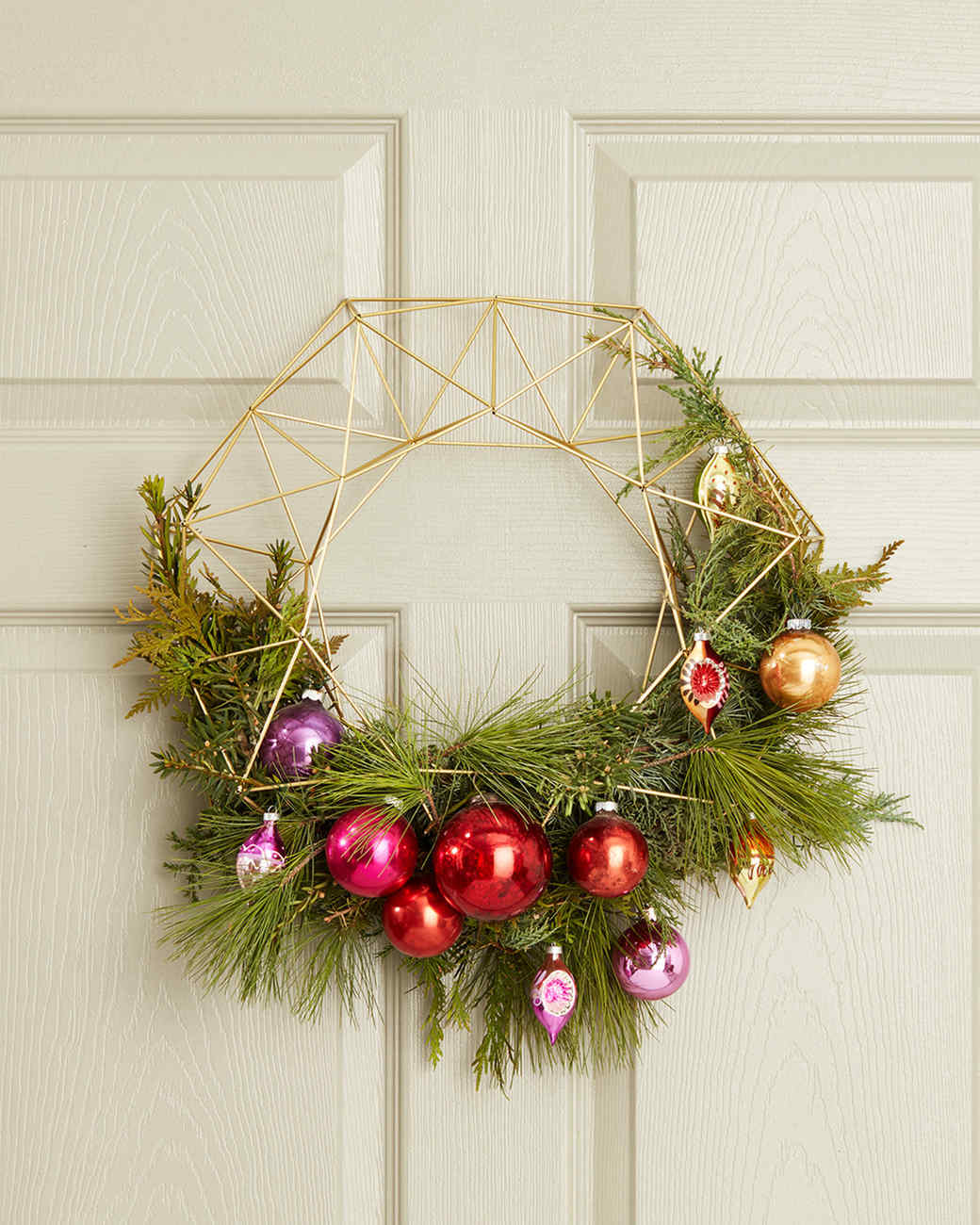 asymmetrical holiday wreath on front door