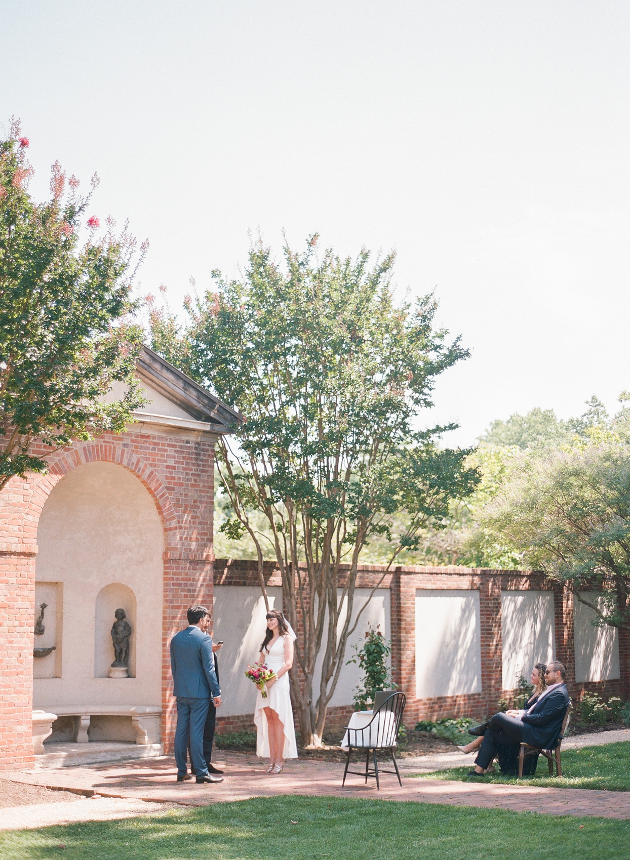 small wedding ceremony in courtyard