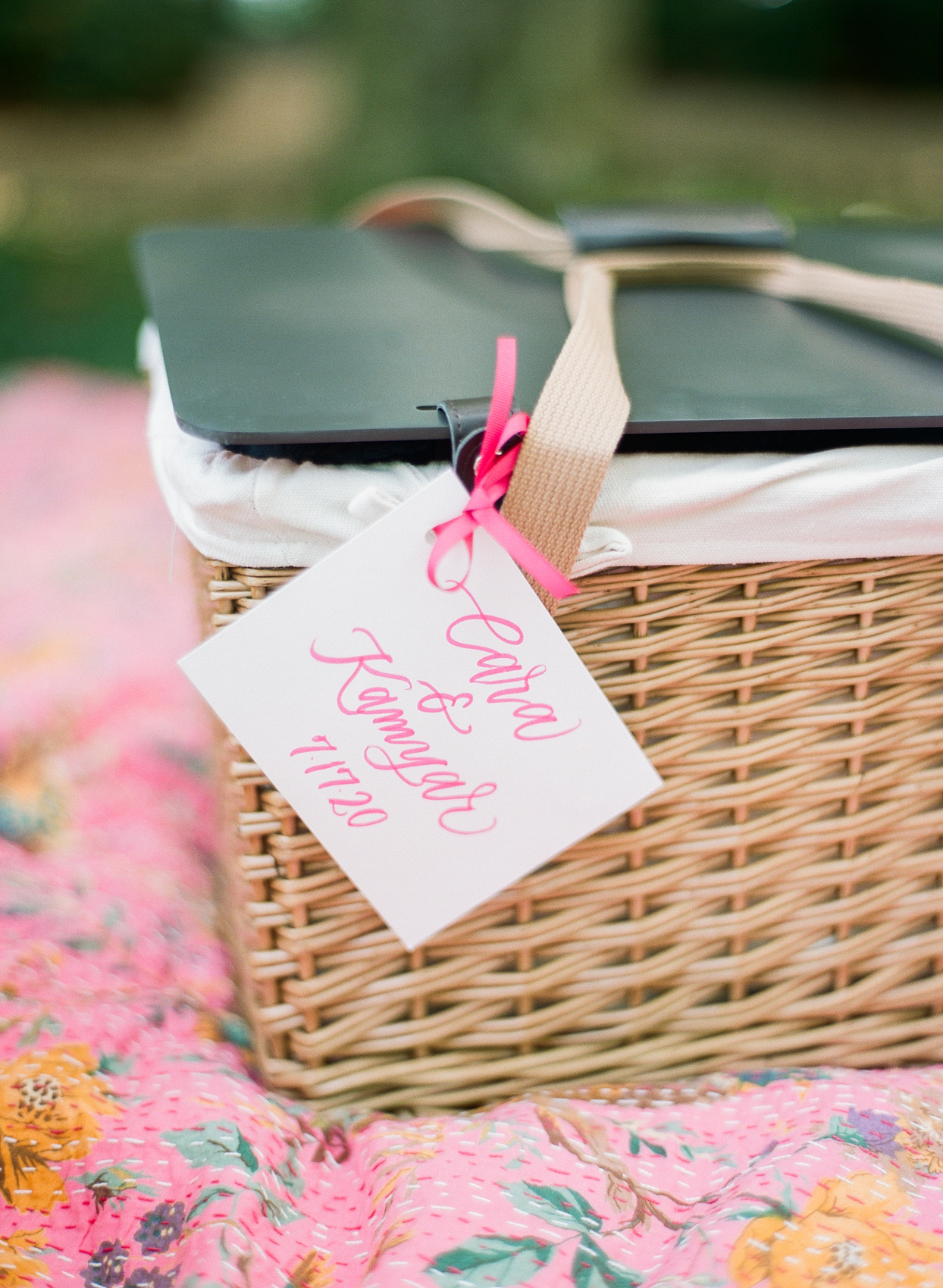 wedding lunch served from wicker picnic basket