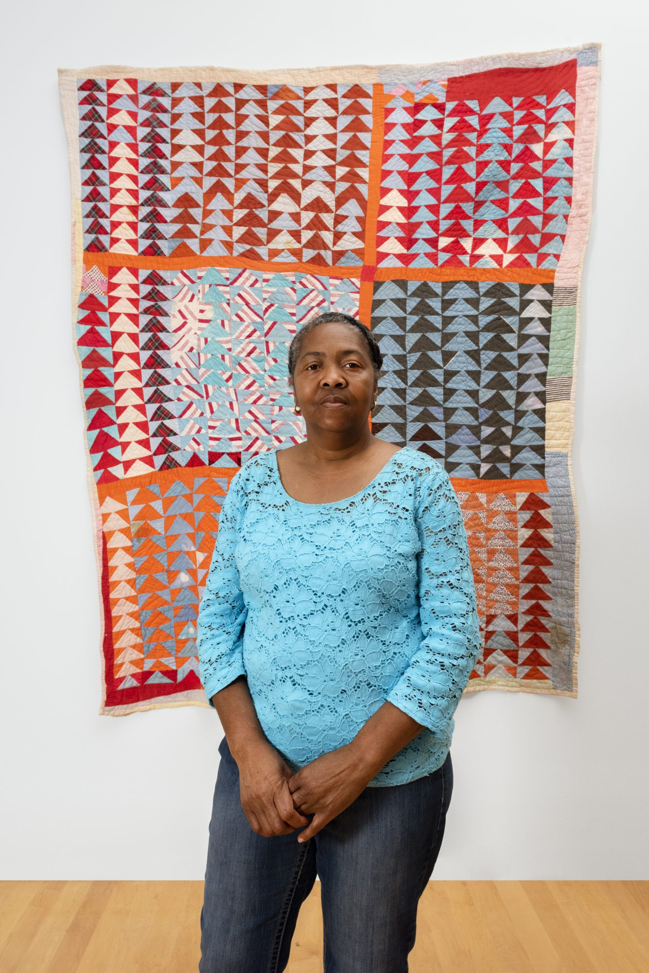 "Gee's Bend quilter Louisiana Bendolph in the exhibition ""Souls Grown Deep: Artists of the African American South"" at the Philadelphia Museum of Art."