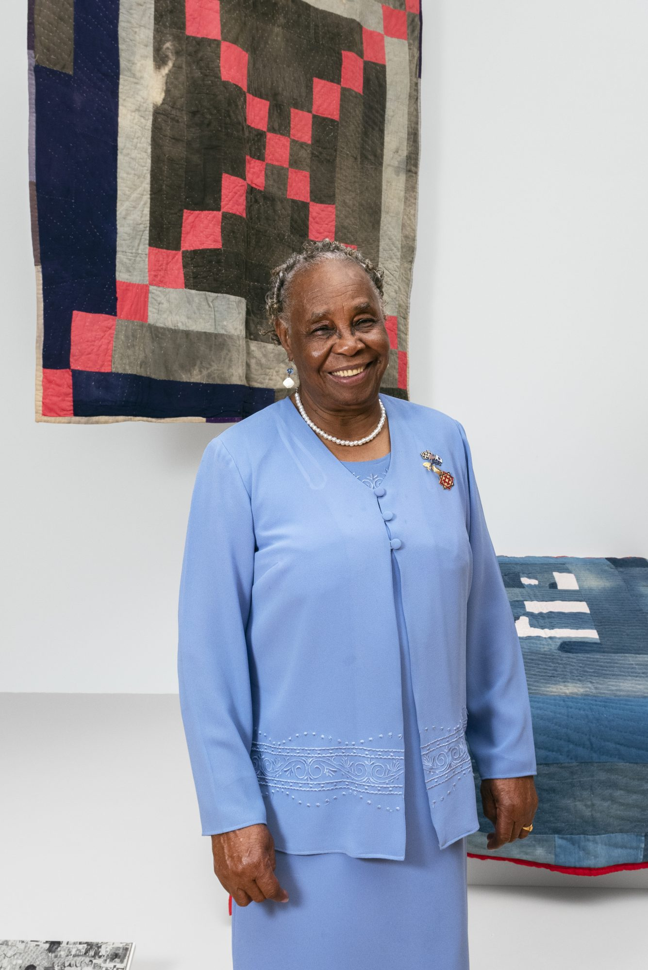 """Gee's Bend quilter Mary Lee Bendolph in the exhibition """"Souls Grown Deep: Artists of the African American South"""" at the Philadelphia Museum of Art."""