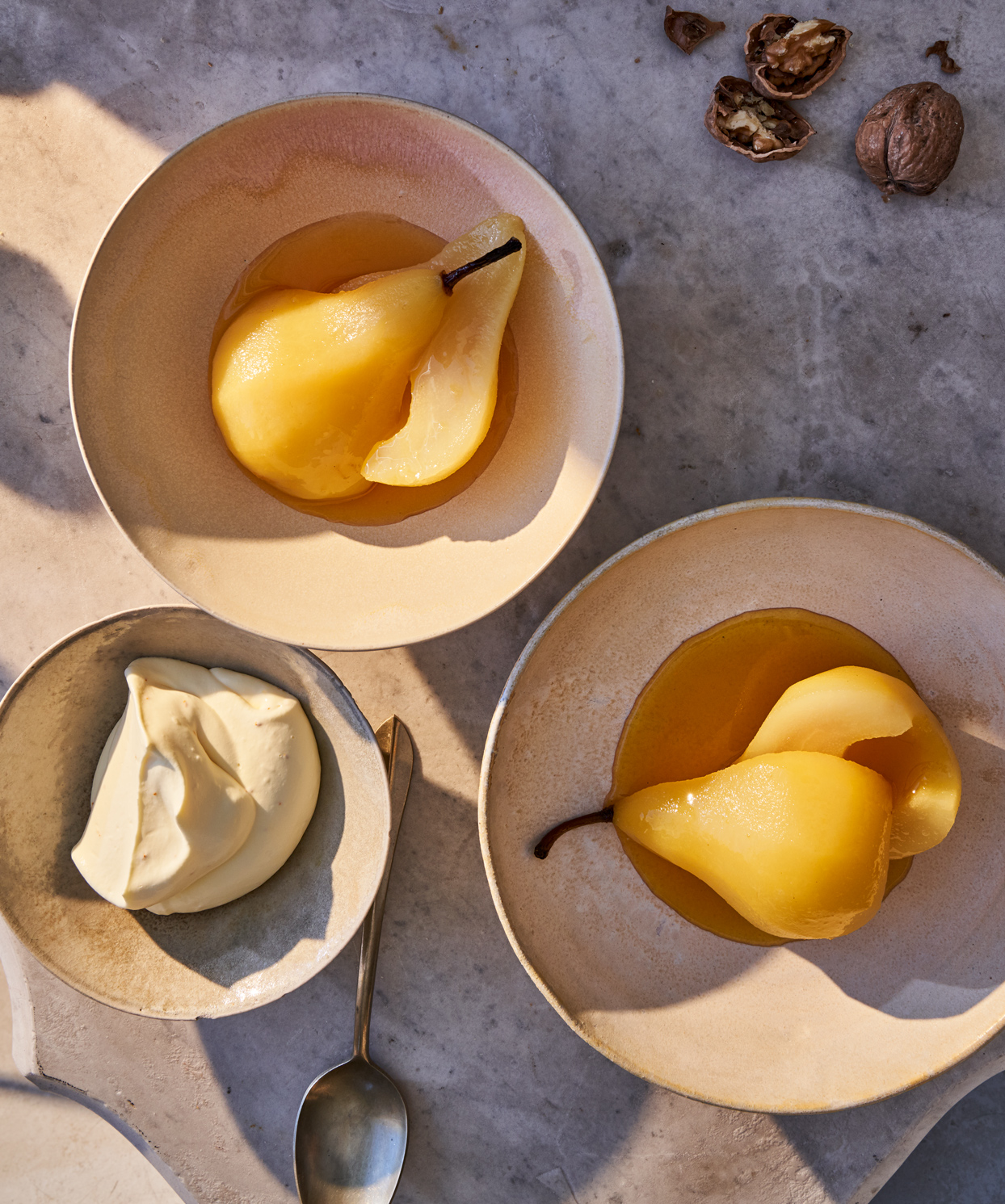 poached pears with saffron whipped cream