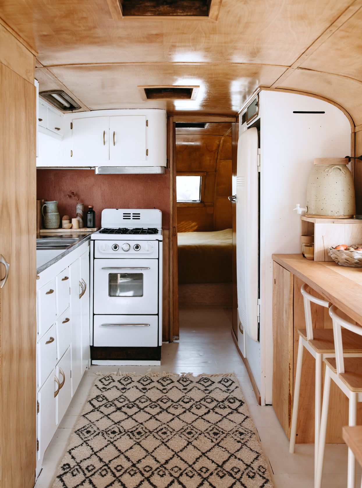 expanded view of kitchen in trailer home