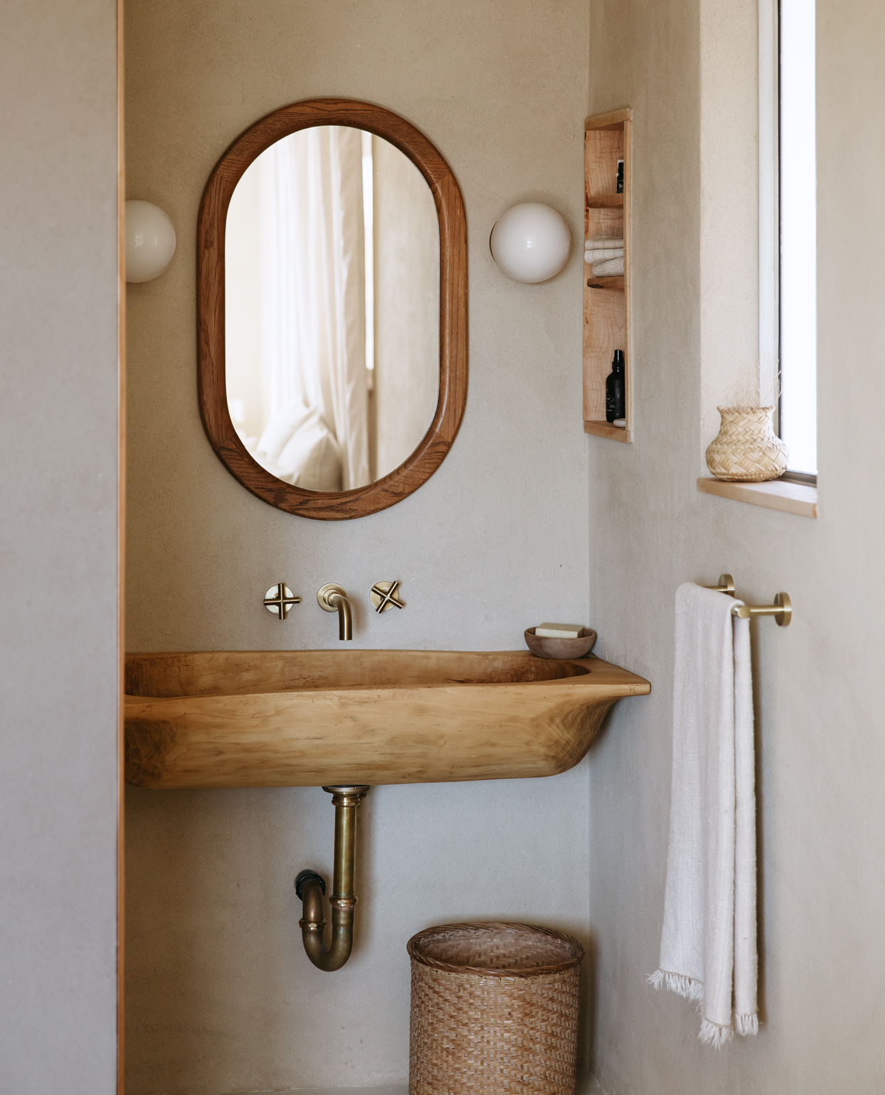 bathroom with natural features
