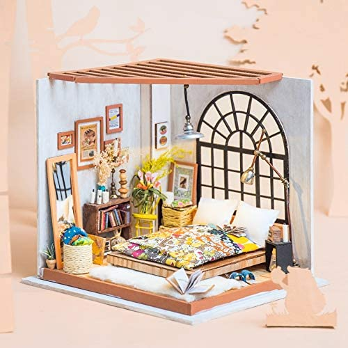 """RoWood DIY Miniature Dollhouse Kit with Furniture """"Alice's Dreamy Bedroom"""""""