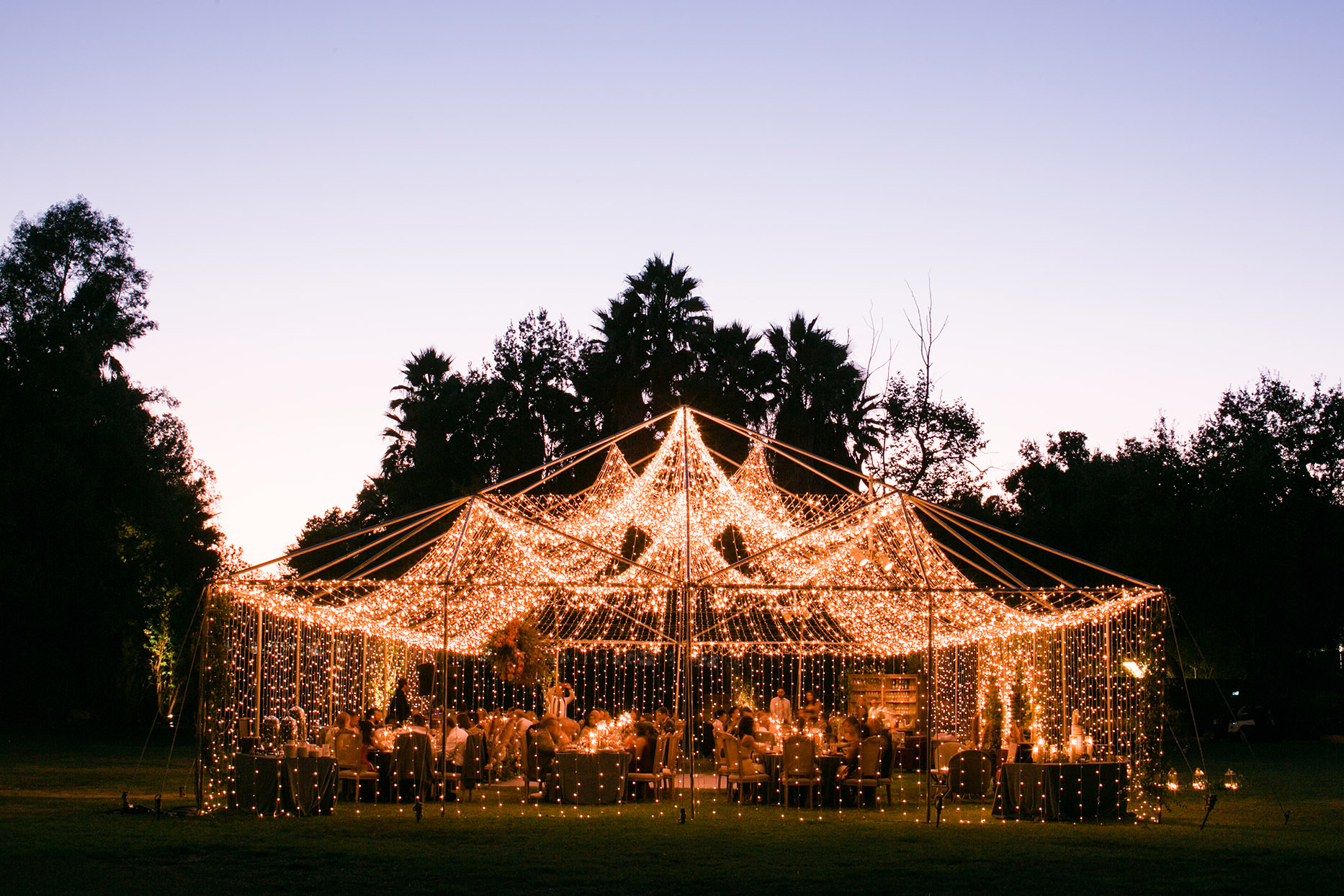 alexia tristan wedding tent and lights