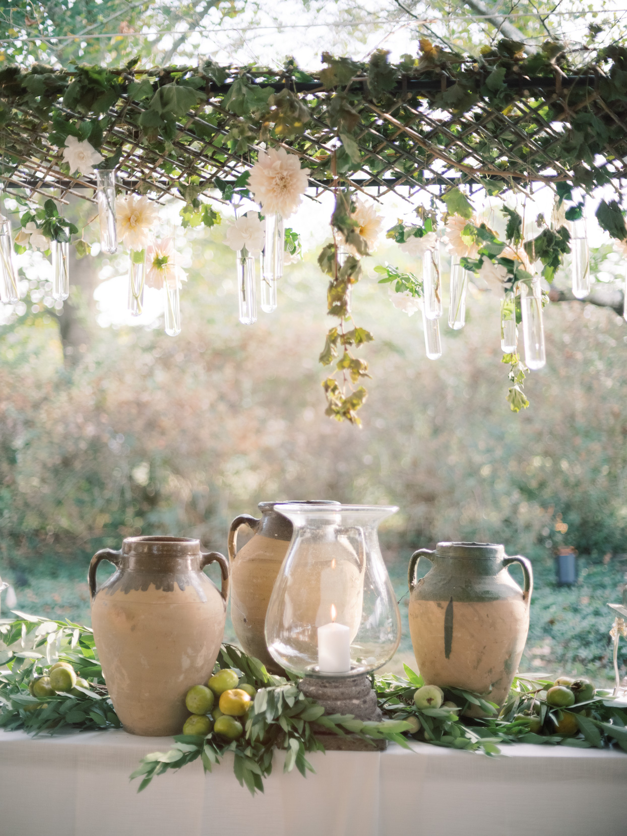 rustic mediterranean buffet decorations vases and candle