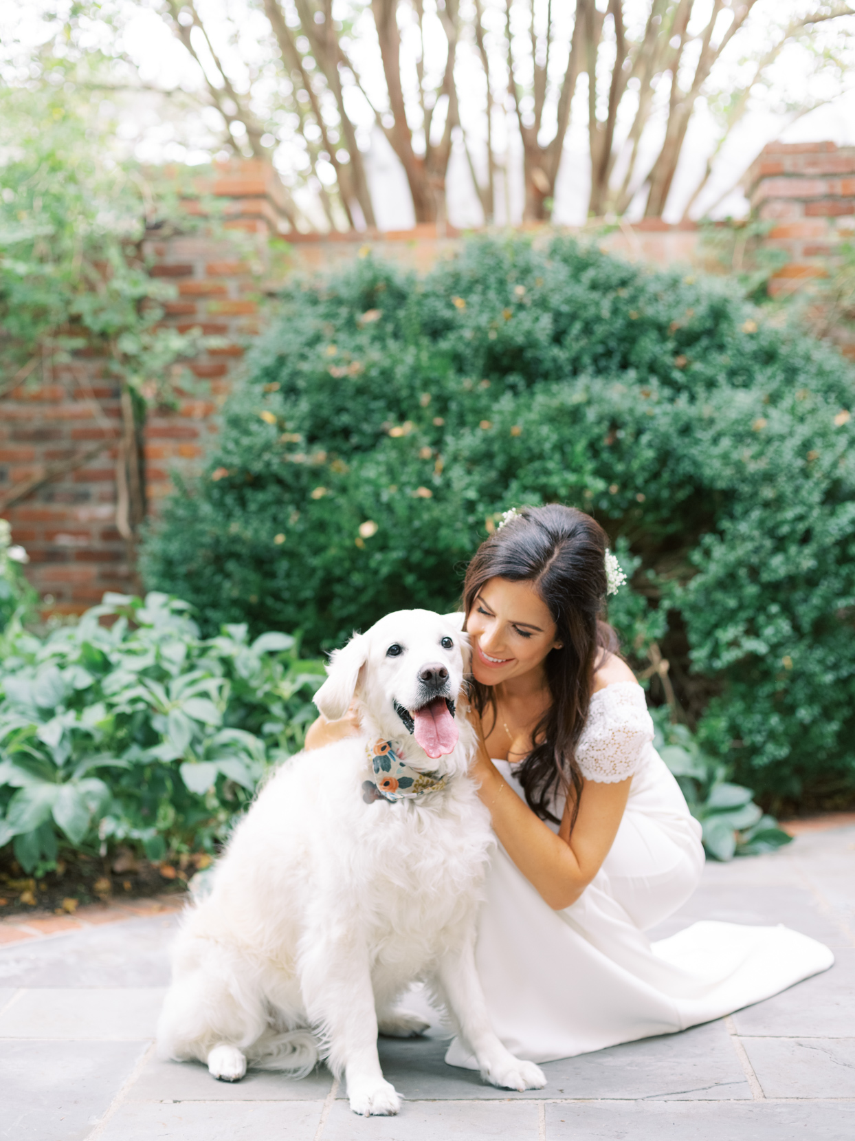 bride and dog crouching on path during first look