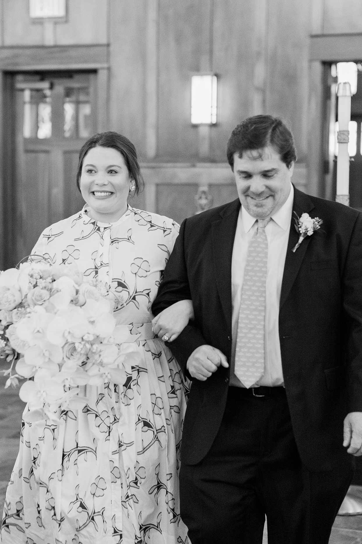 bride with father during church processional