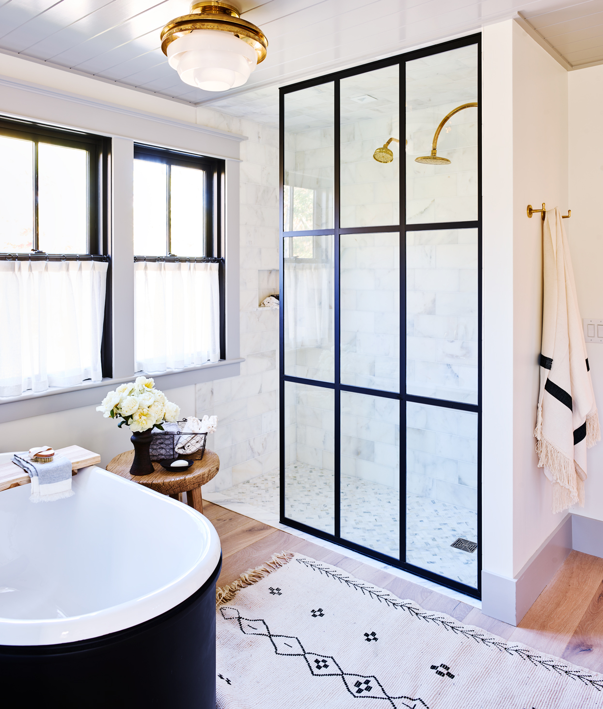 shot of bathroom with glass door shower