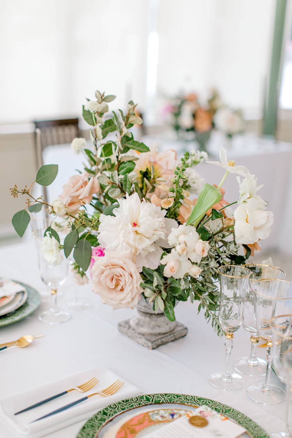 white and blush floral reception table centerpieces