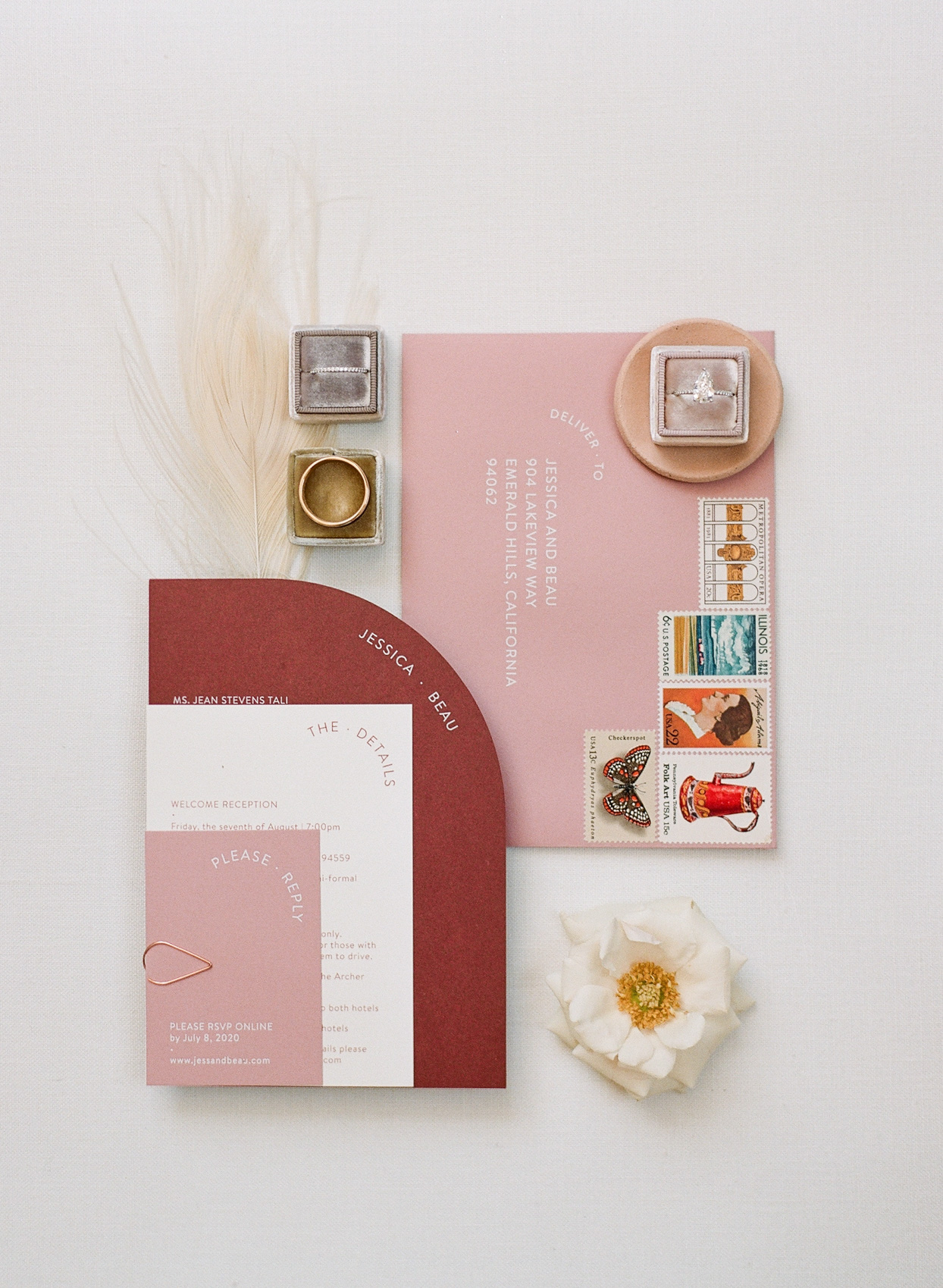 burgundy and pink wedding invitations