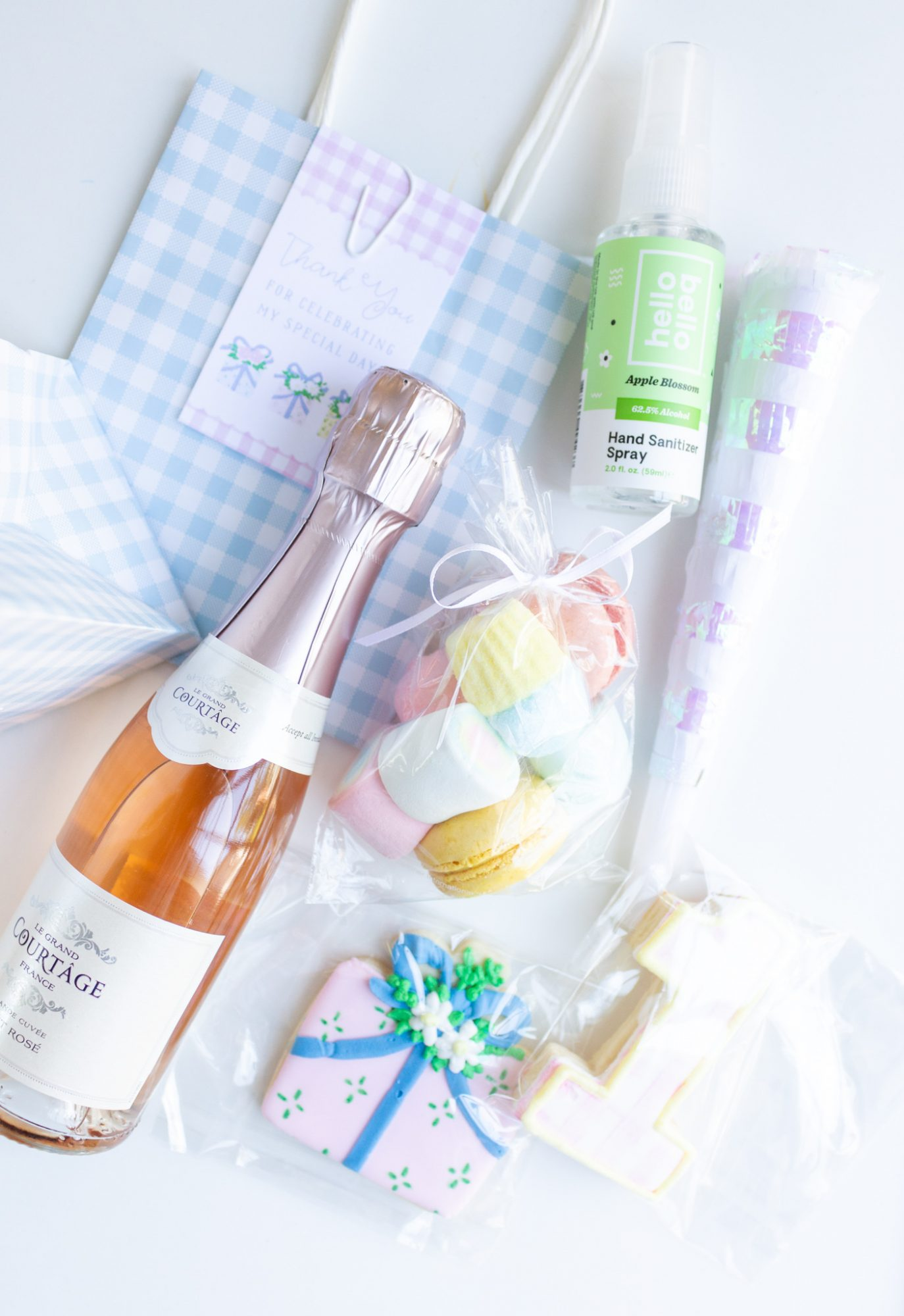 bag of party favors for baby Claire's virtual birthday cake smash