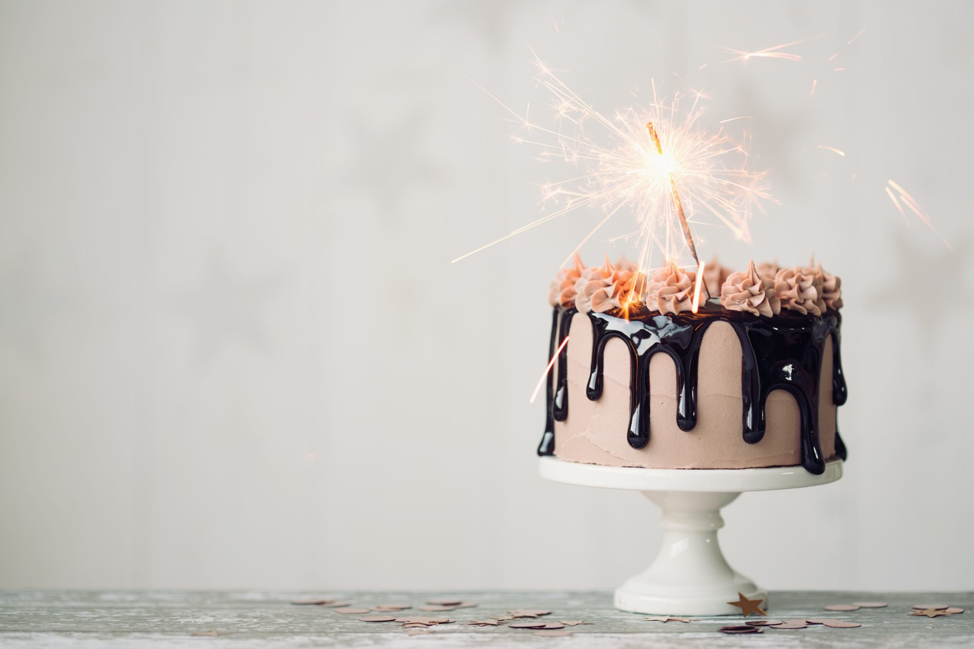 Birthday Cake with Sparkler Candle