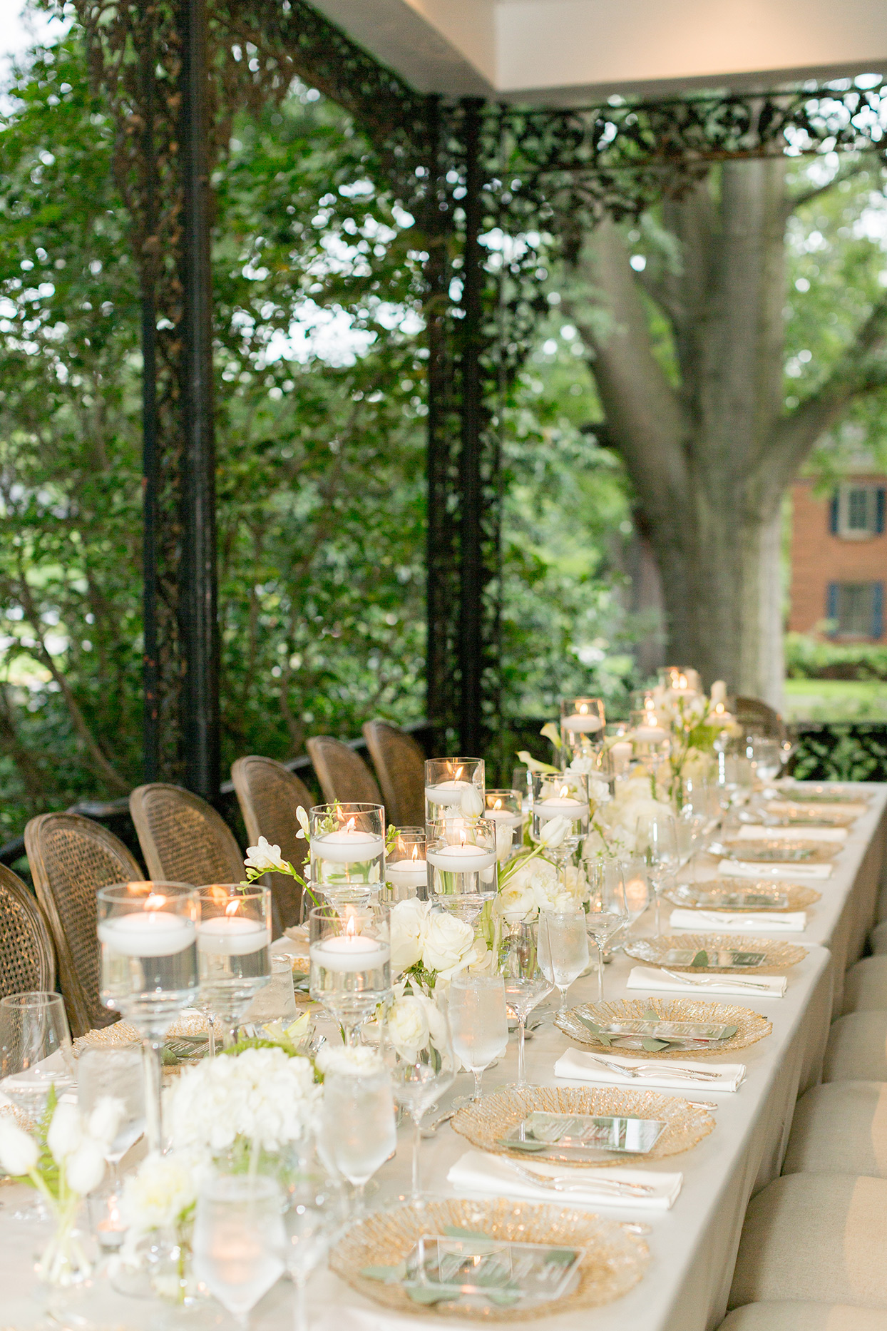 floating candles and white floral centerpieces