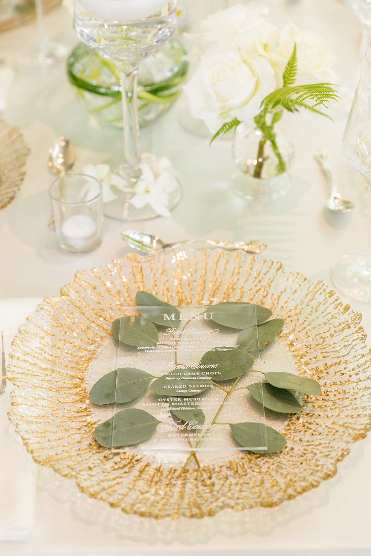 crystal themed wedding reception placesettings