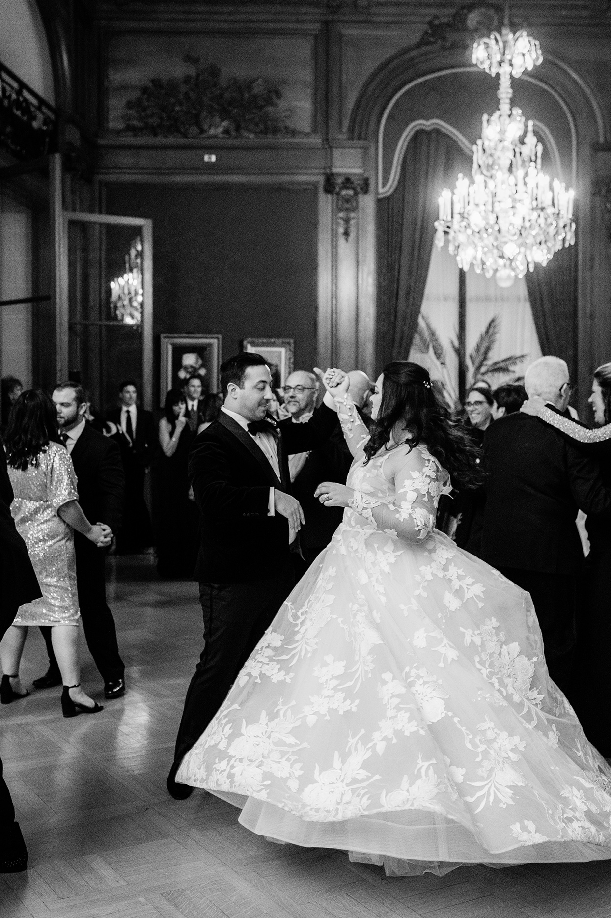 Bride and groom during reception dance