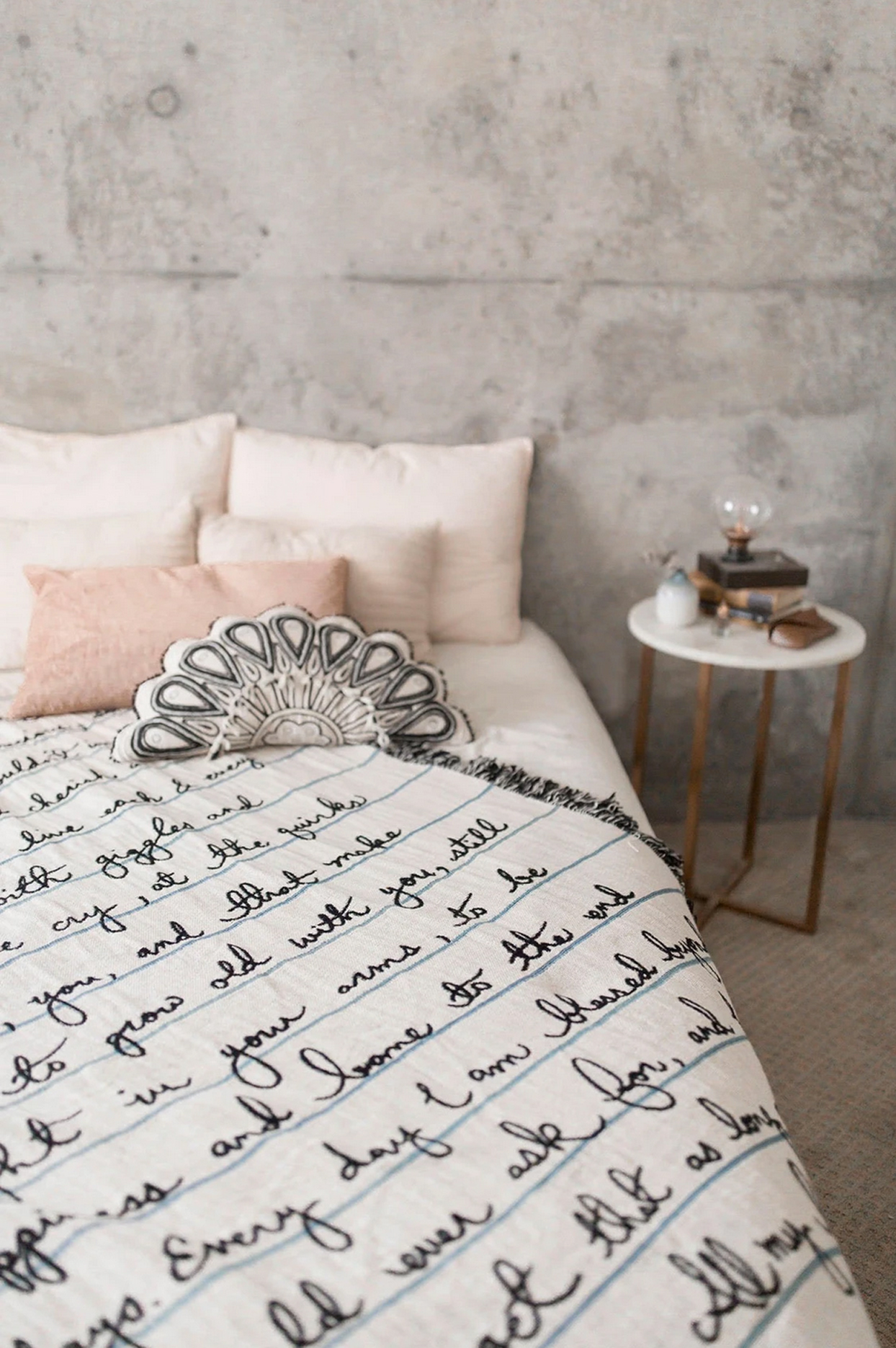 frankie print co blanket with lettering