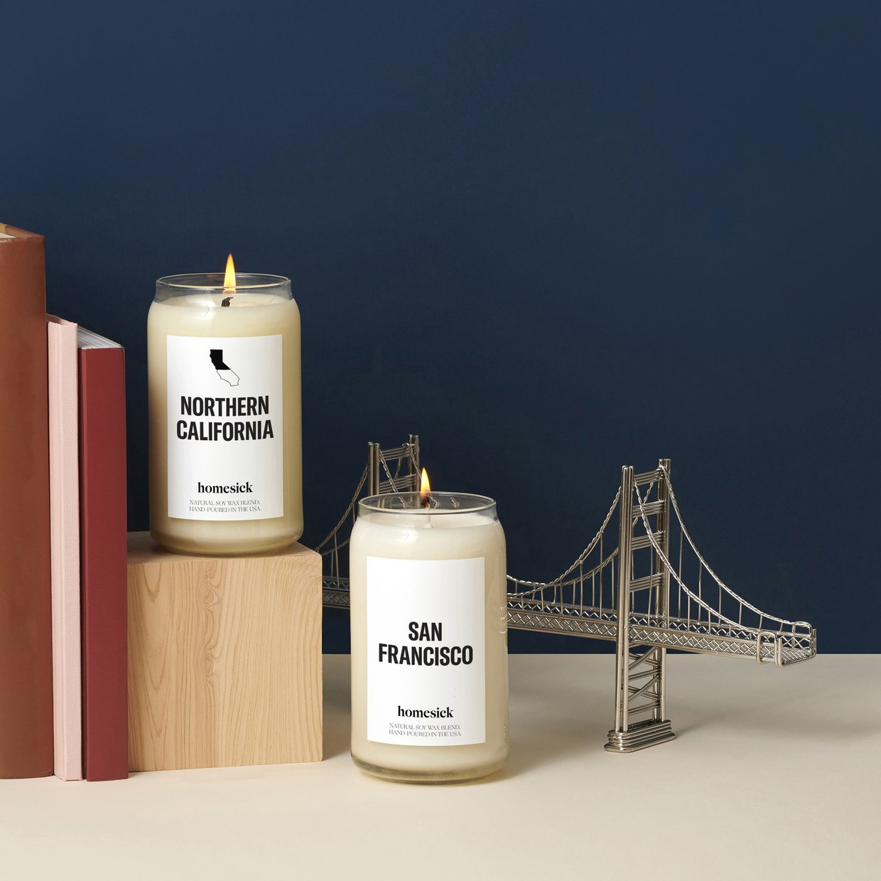 homesick candles with books