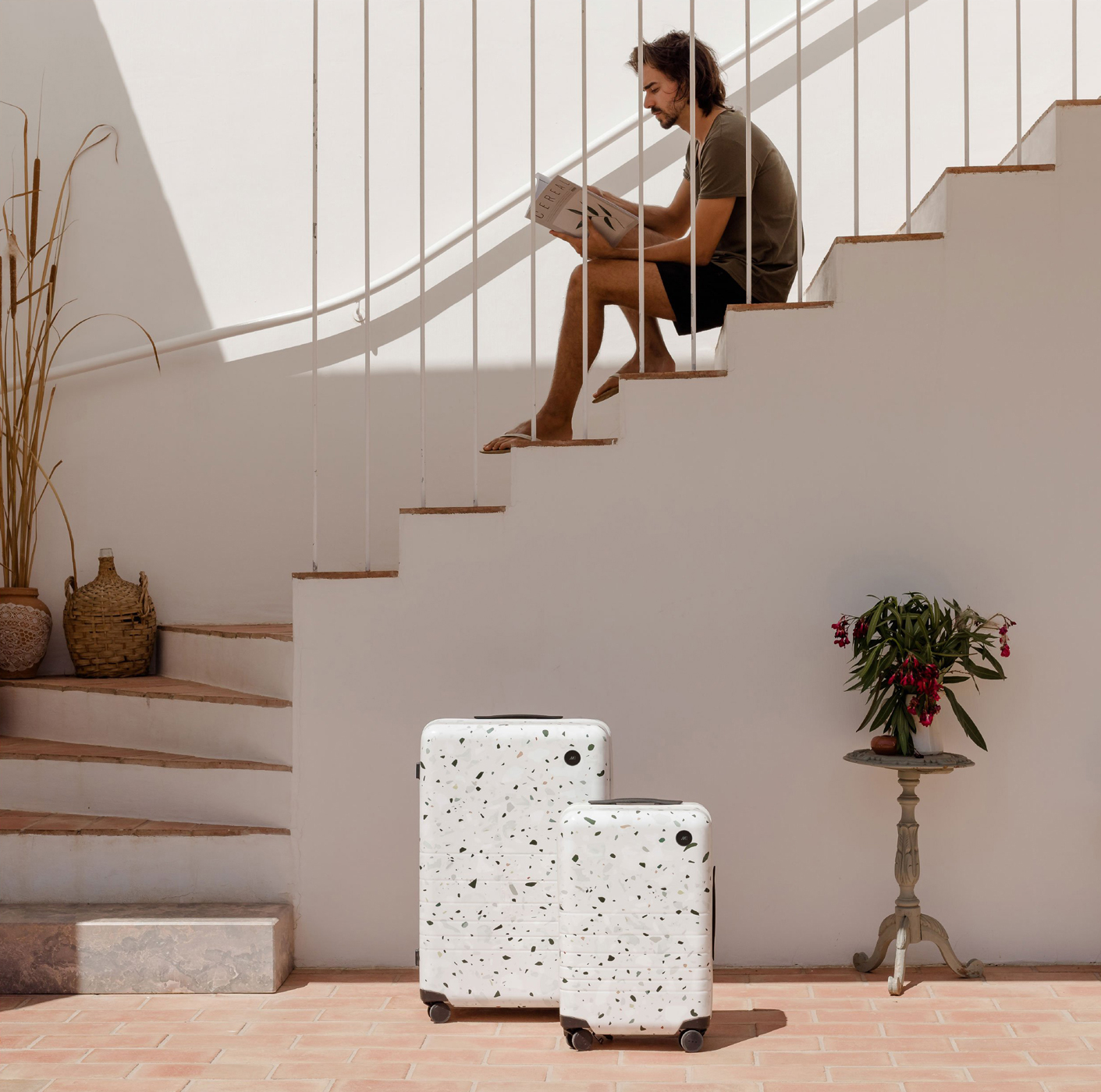 monos suitcases with speck pattern