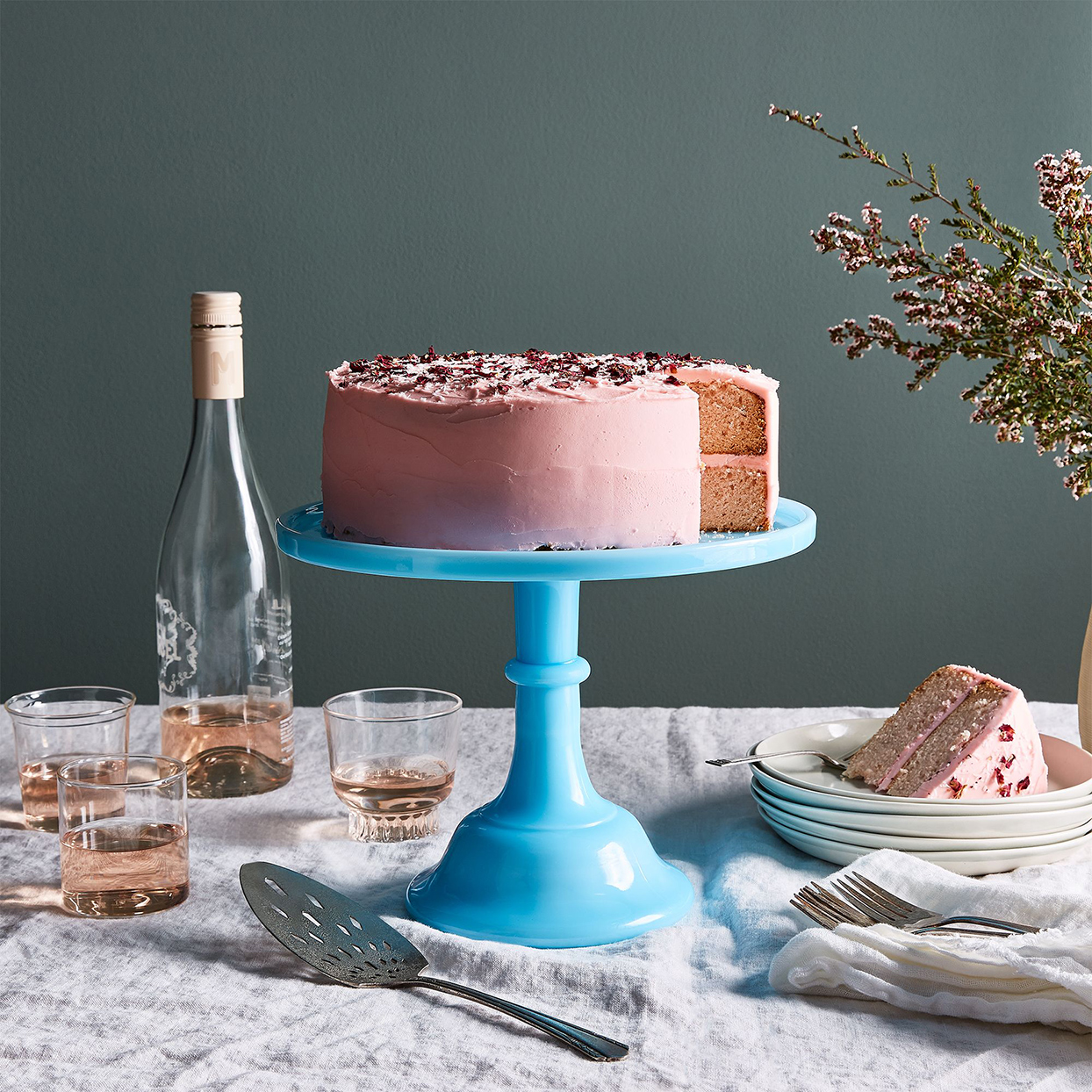 mosser glass cake stand in robin's egg blue