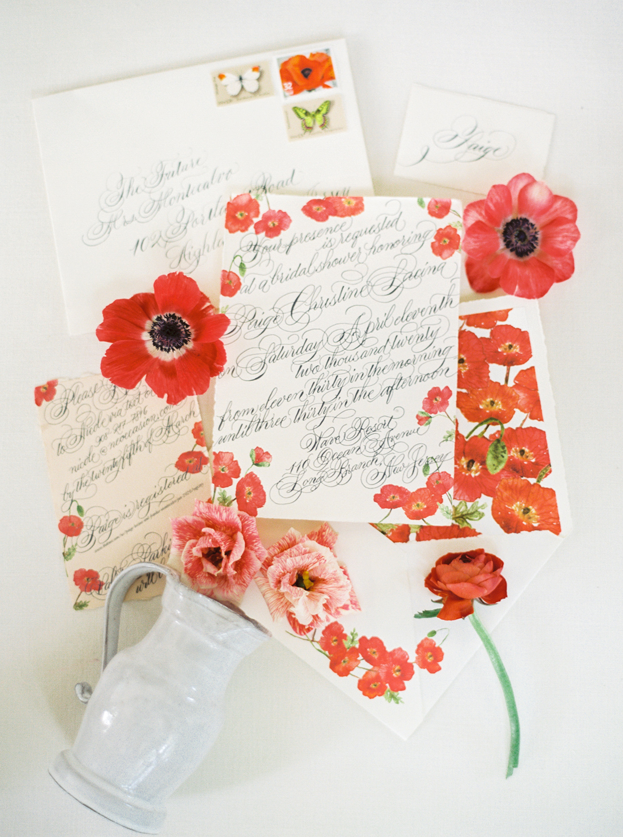 red poppy accented bridal shower invites