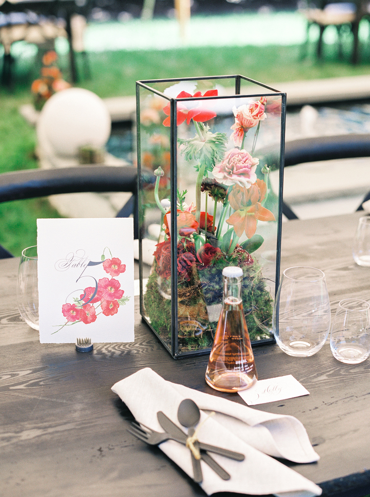 floral bridal shower table centerpieces in glass boxes