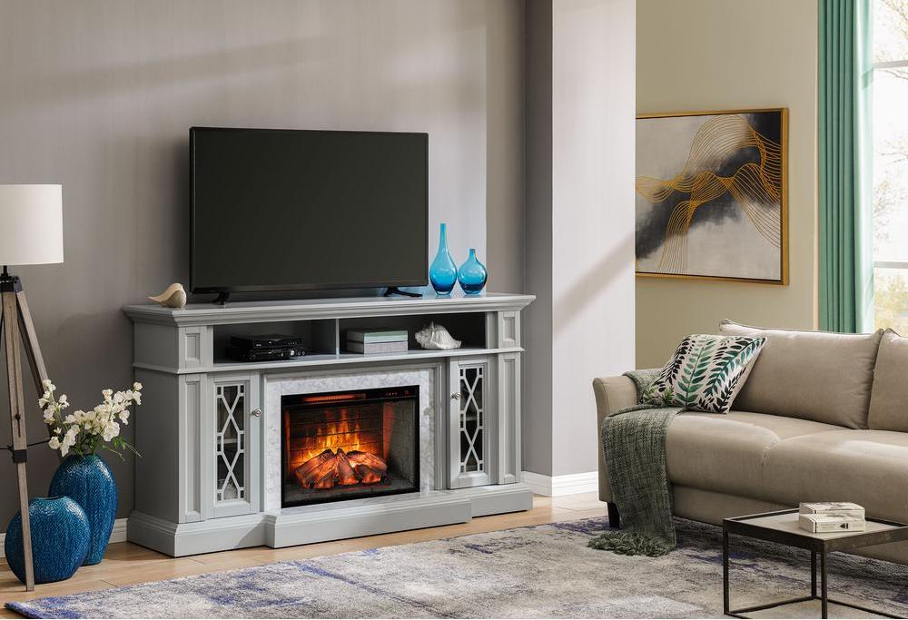 electric fireplace heater in living room with TV stand