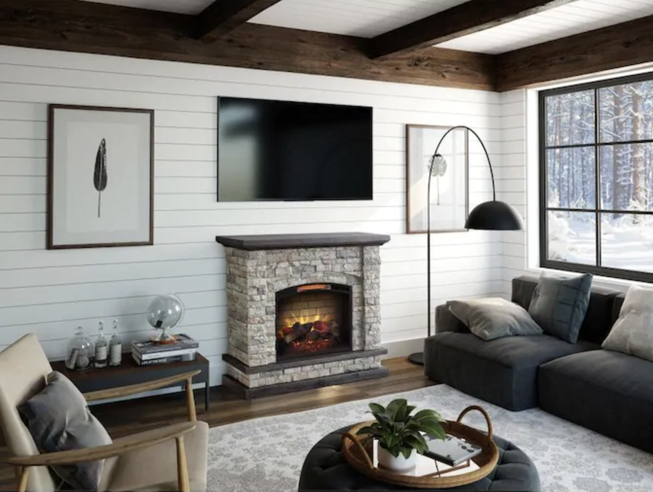 electric stone fireplace in living room